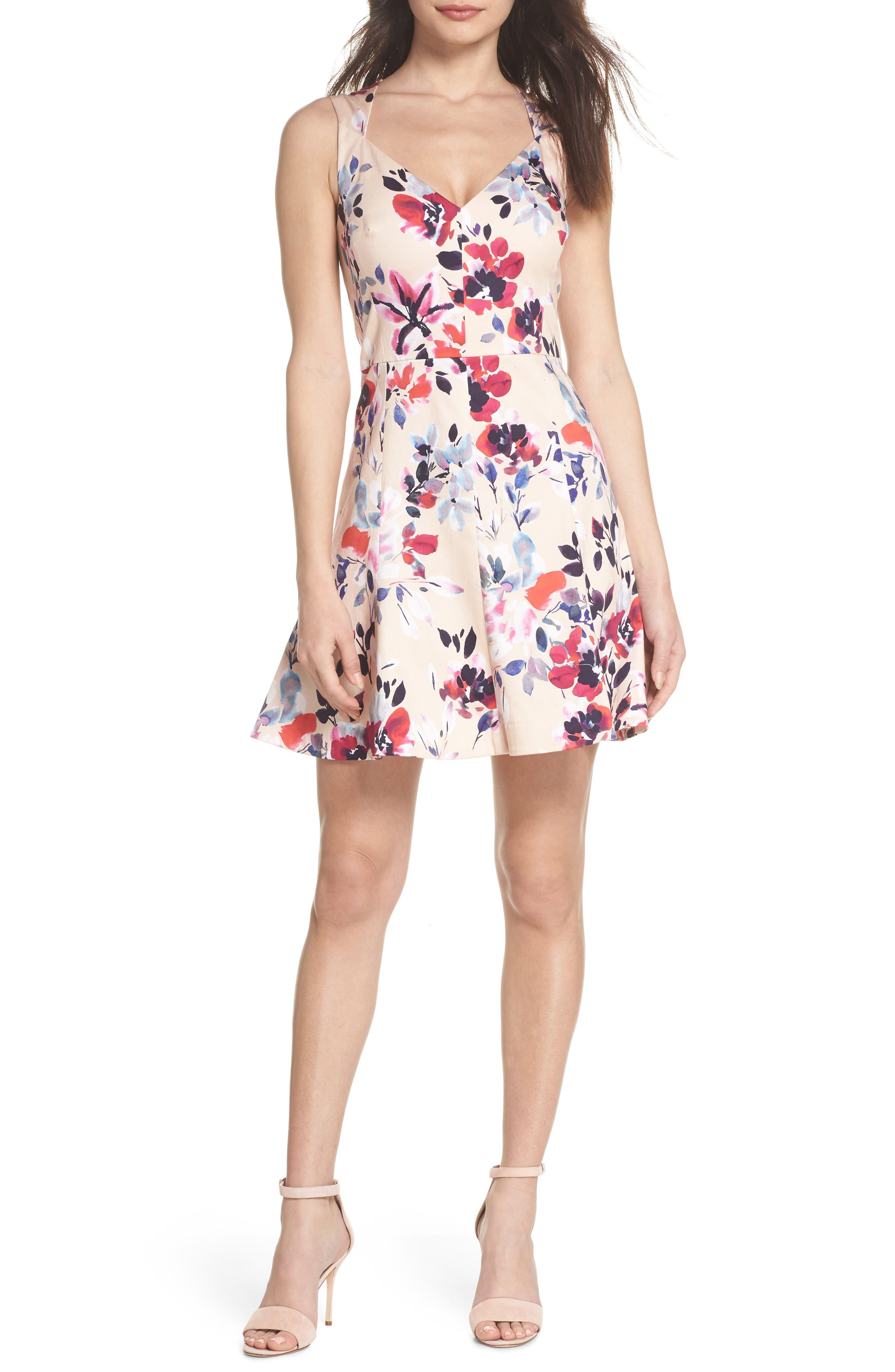 Linosa Fit & Flare Dress,                             Main thumbnail 1, color,                             Barley Pink