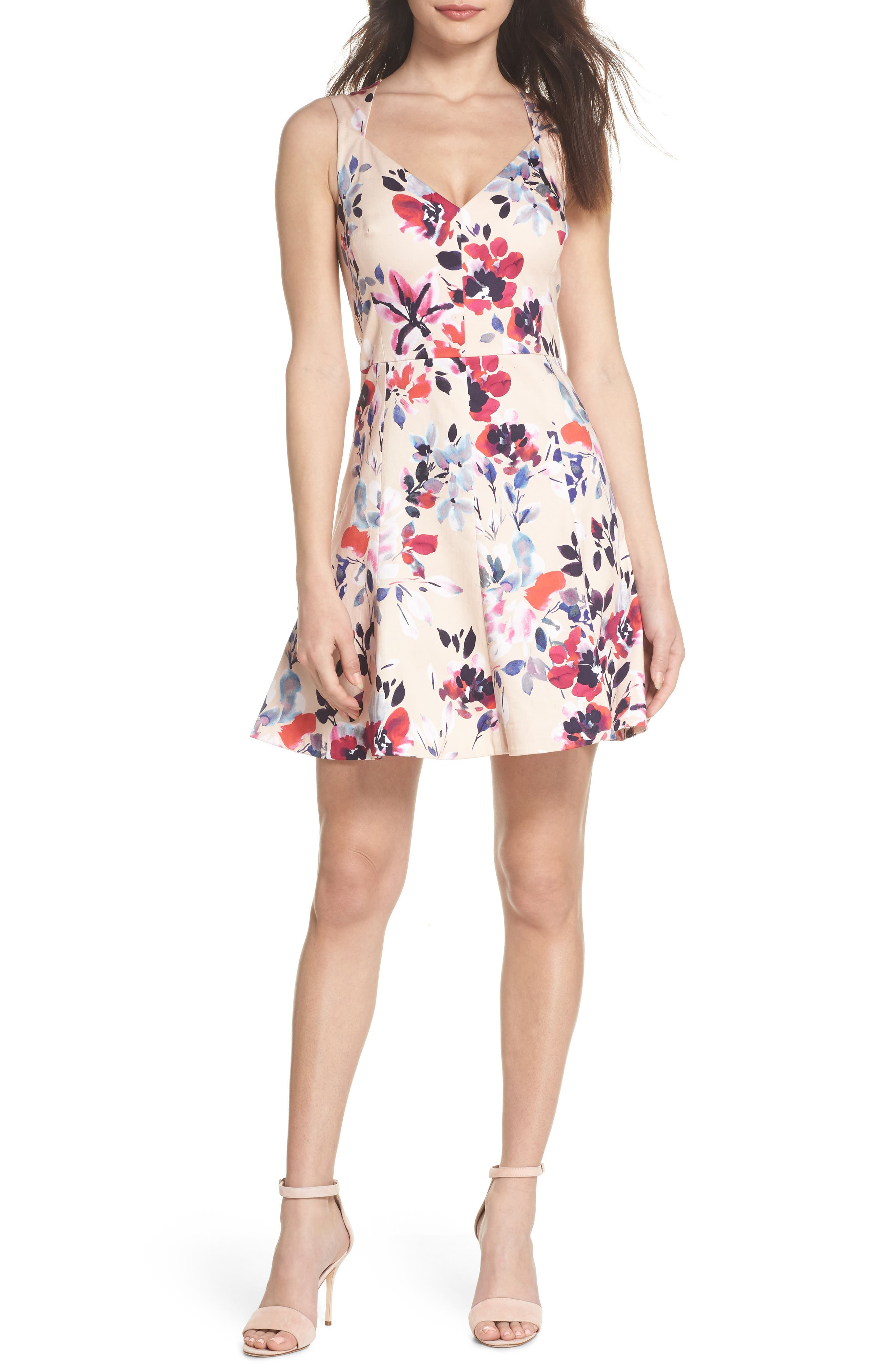 Linosa Fit & Flare Dress,                         Main,                         color, Barley Pink