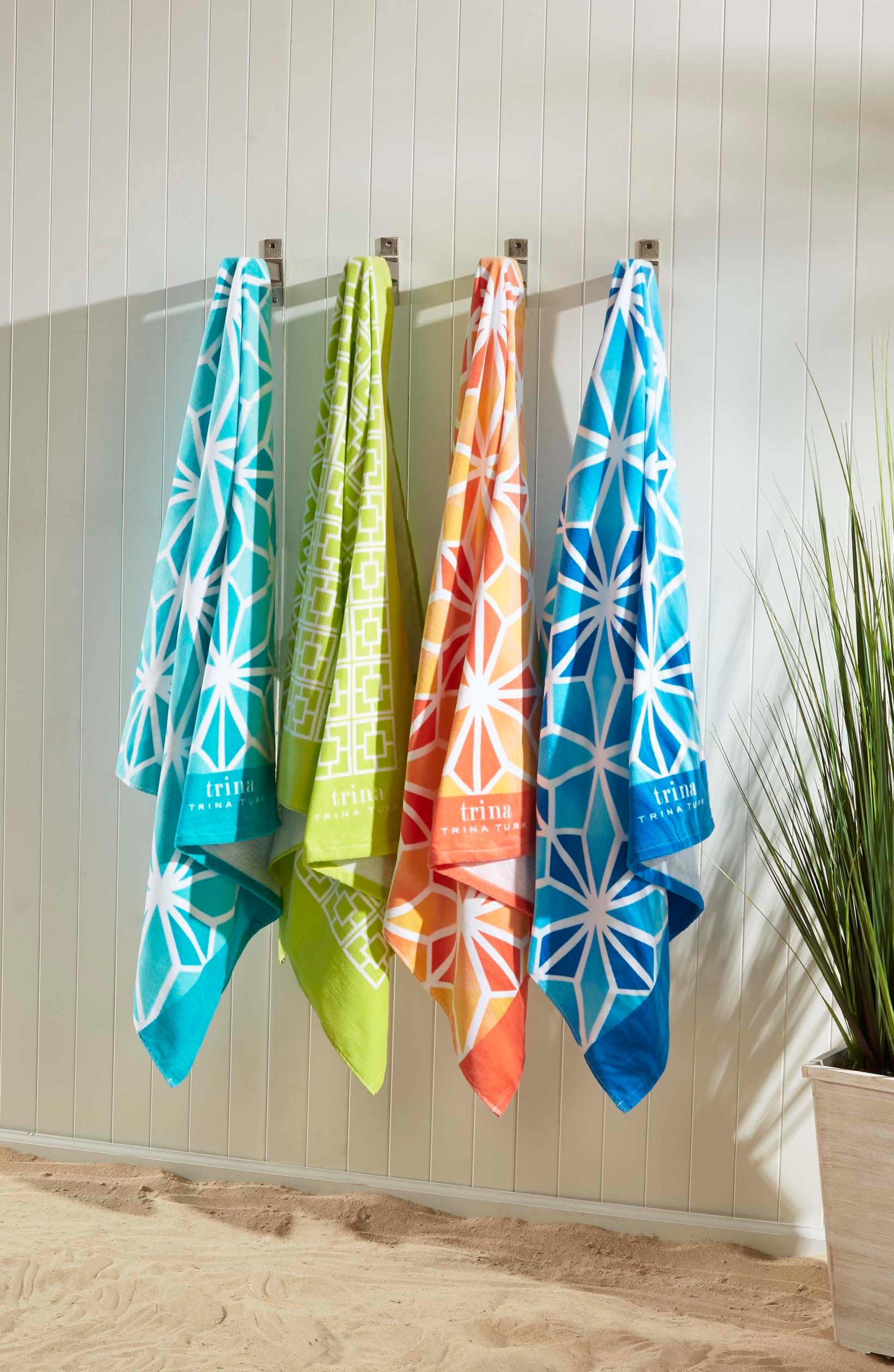 Mojave Beach Towel,                             Alternate thumbnail 3, color,                             Aqua