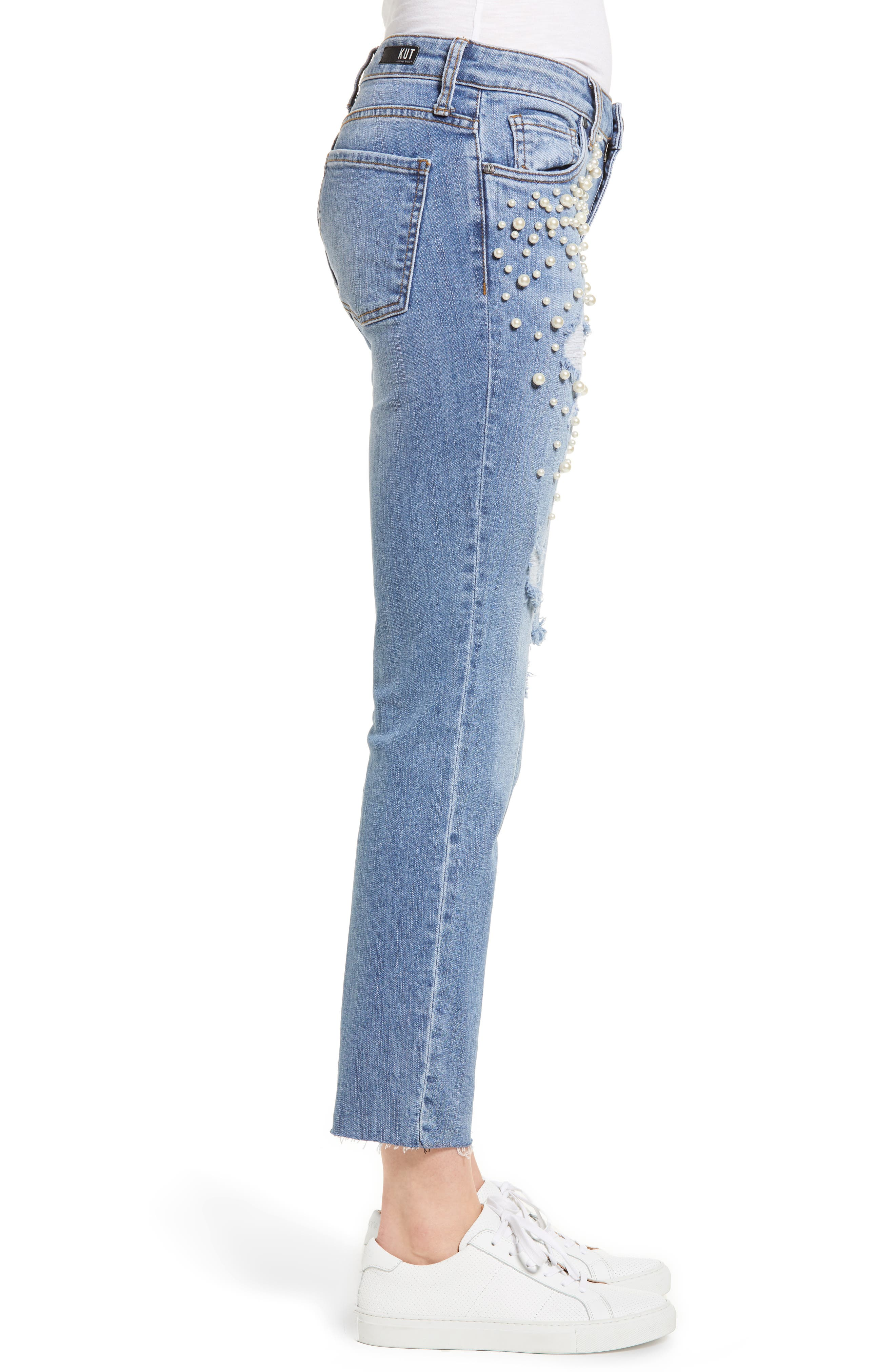 Reese Pearl Detail Raw Edge Jeans,                             Alternate thumbnail 3, color,                             Assess W/ Medium Base Wash