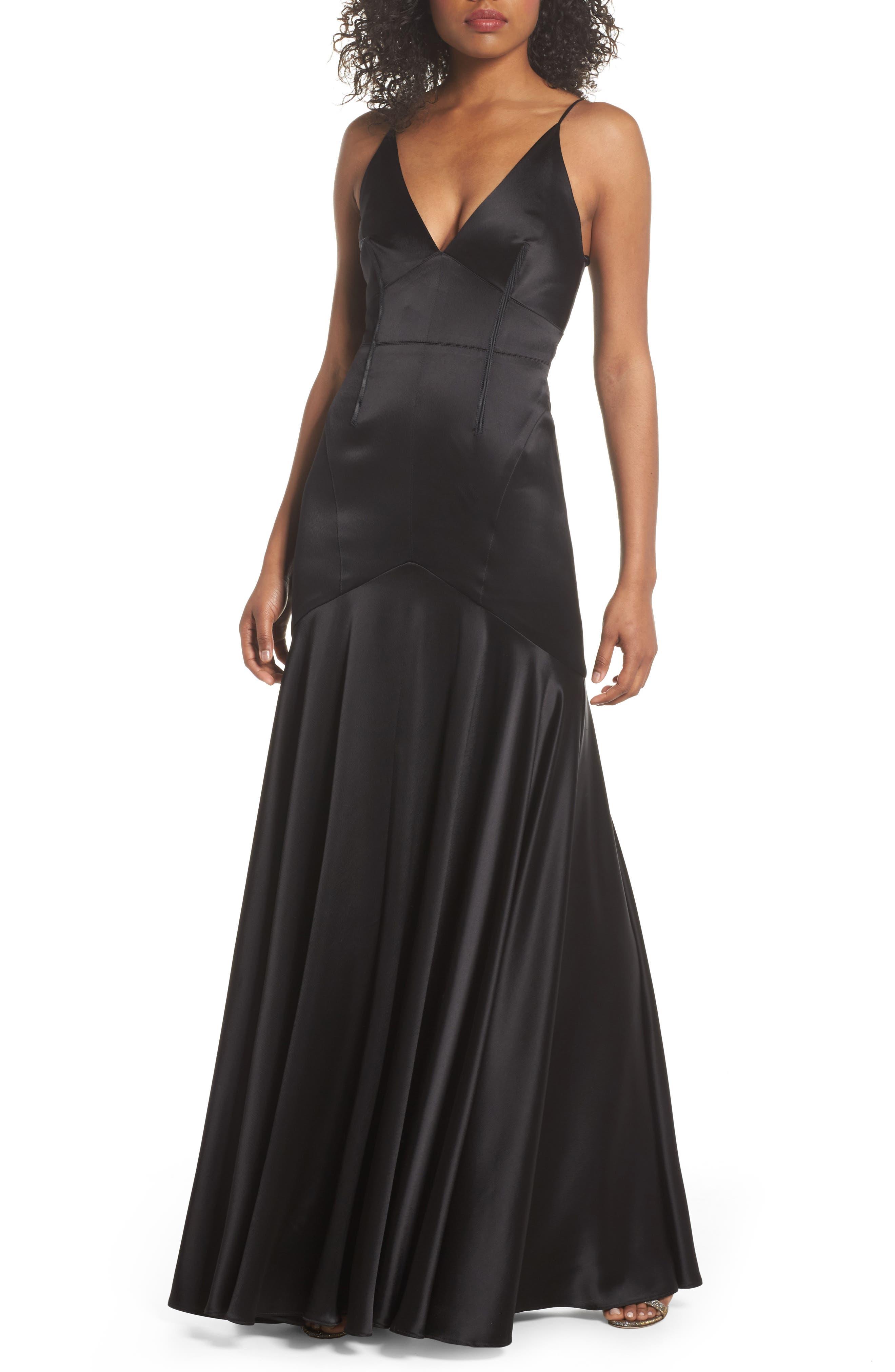 Corset Detail Satin Gown,                             Main thumbnail 1, color,                             Black