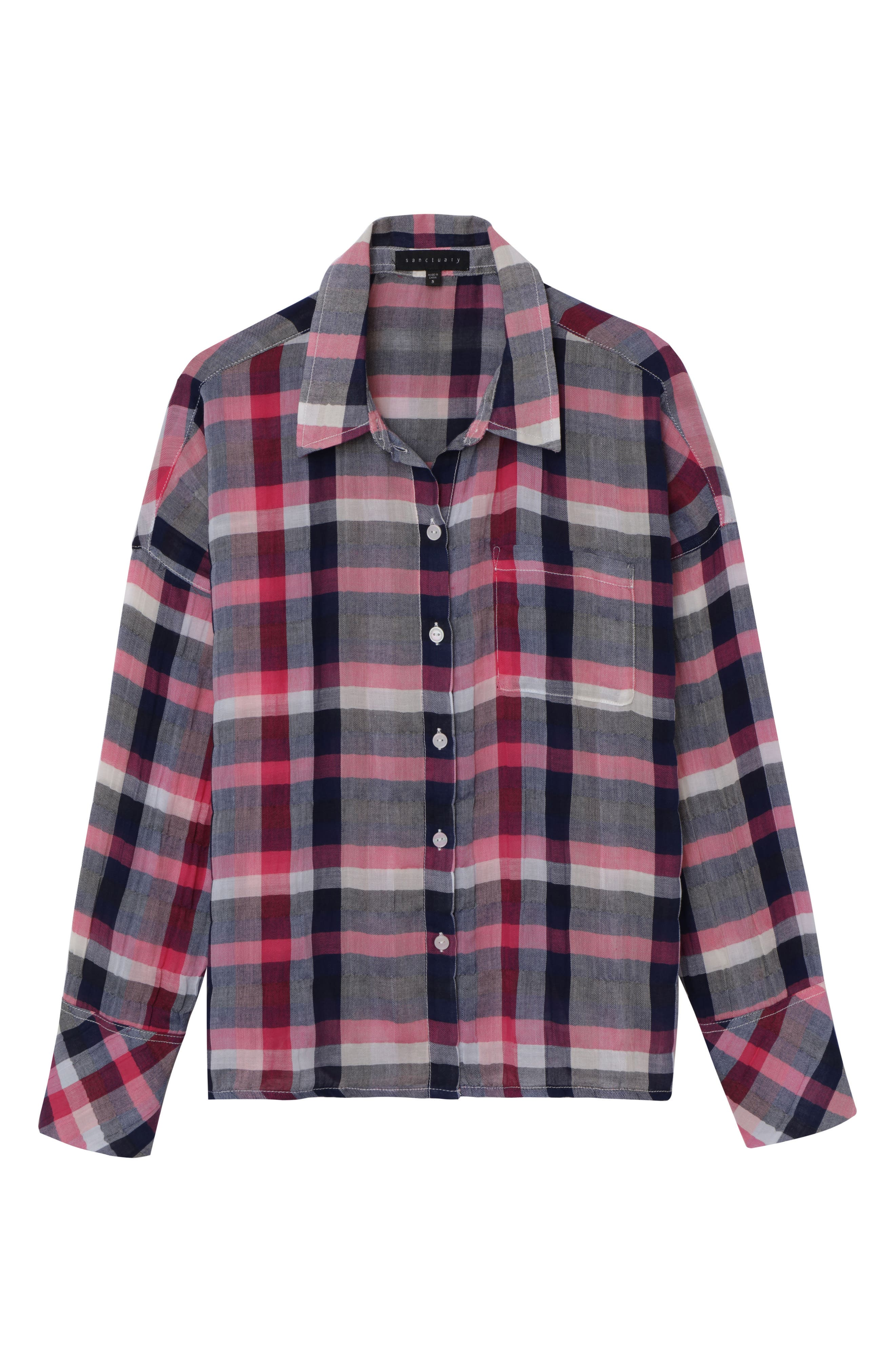 The Steady Boyfriend Shirt,                             Alternate thumbnail 3, color,                             Cheerful Check