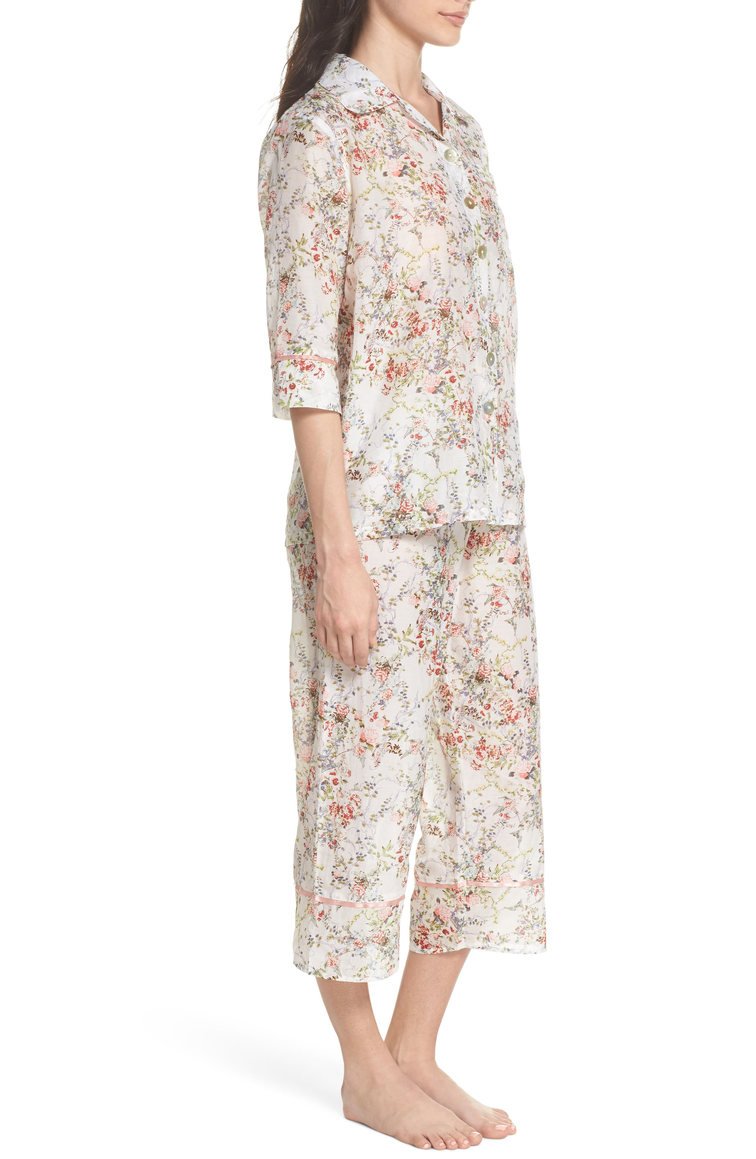 Yolly Floral Cotton & Silk Pajamas,                             Alternate thumbnail 3, color,                             Ivory Floral