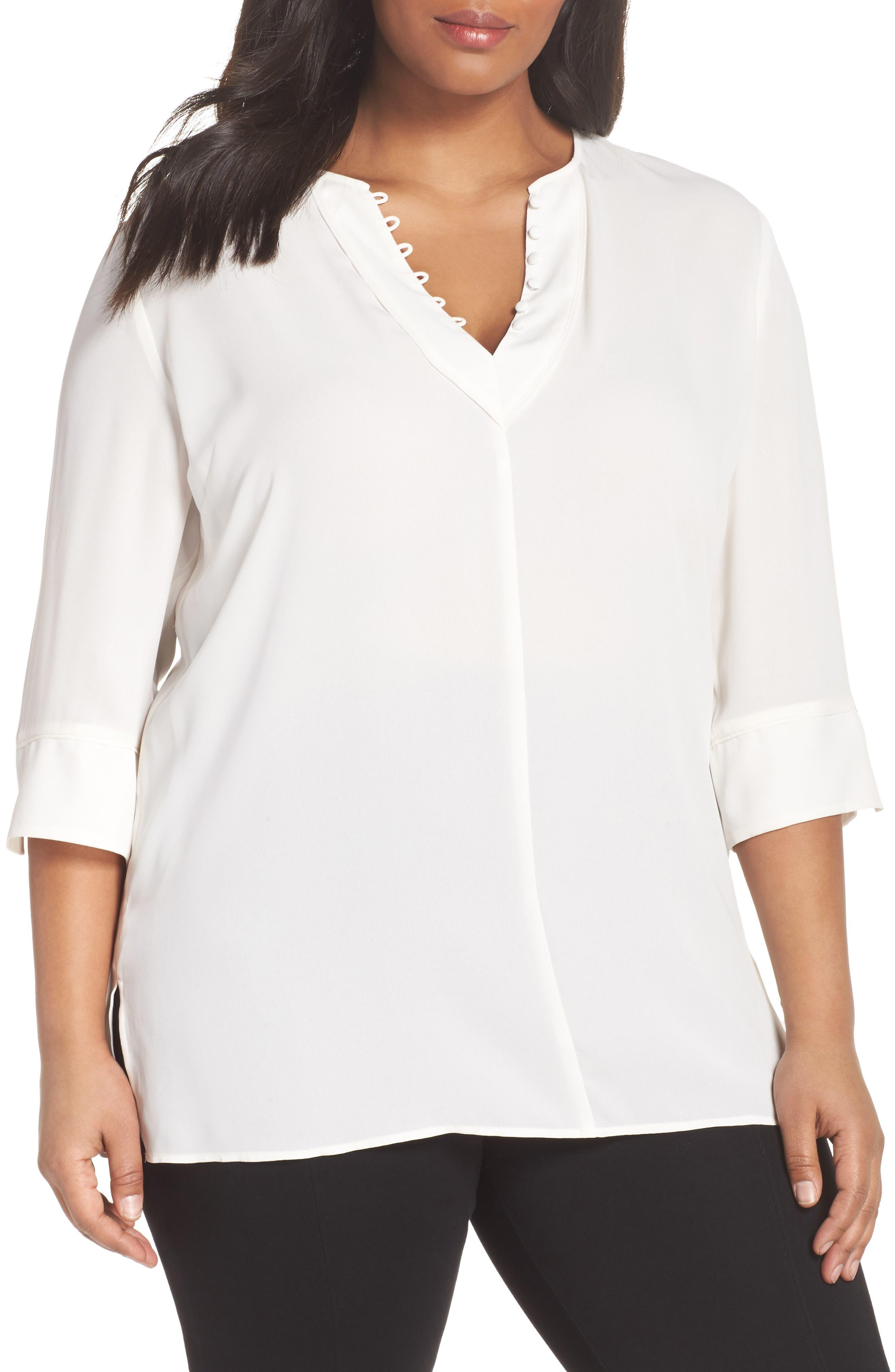 Sejour Button Detail Tunic Top (Plus Size)