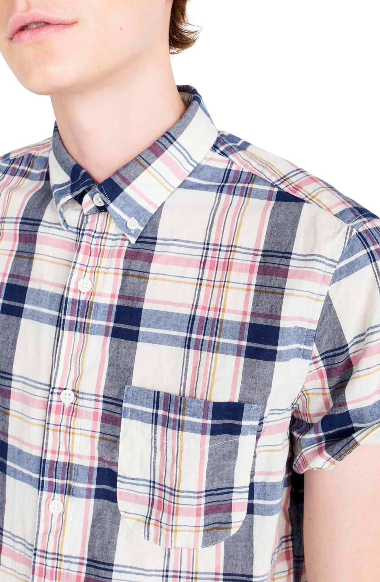 Indigo Plaid Short Sleeve Madras Shirt,                             Alternate thumbnail 3, color,                             Indigo Creme