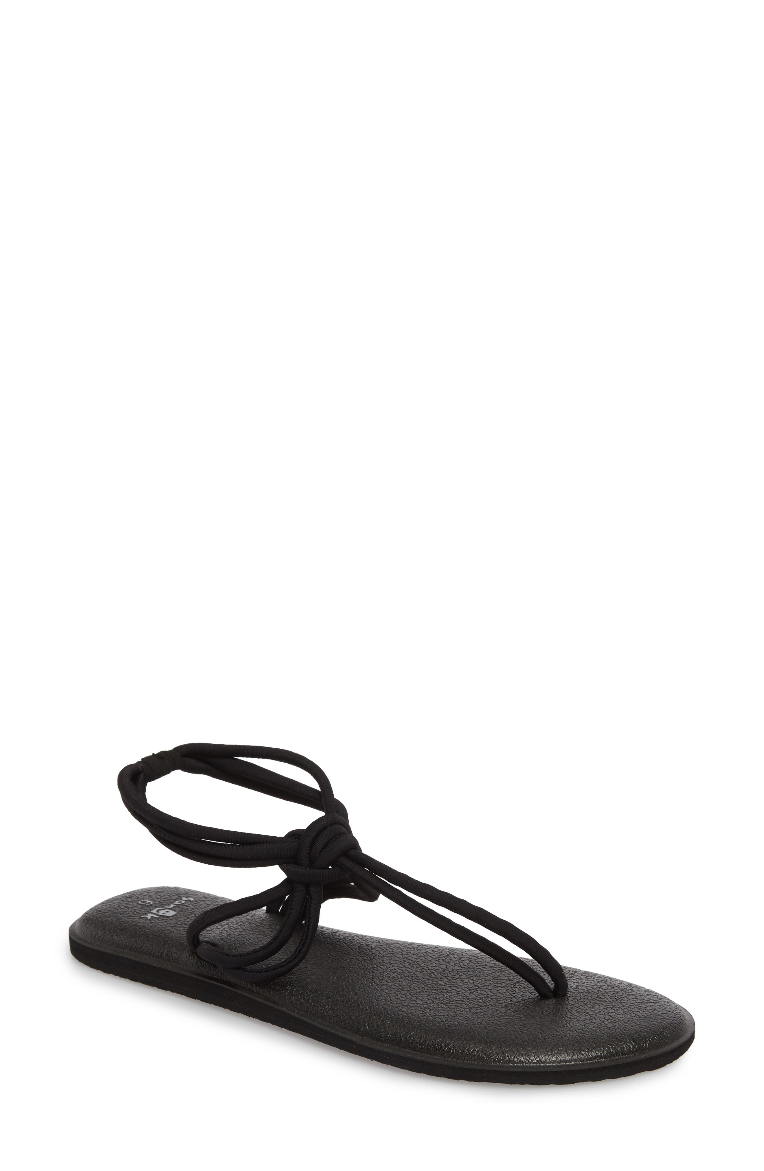 Yoga Sunshine Knotted Thong Sandal,                             Main thumbnail 1, color,                             Black