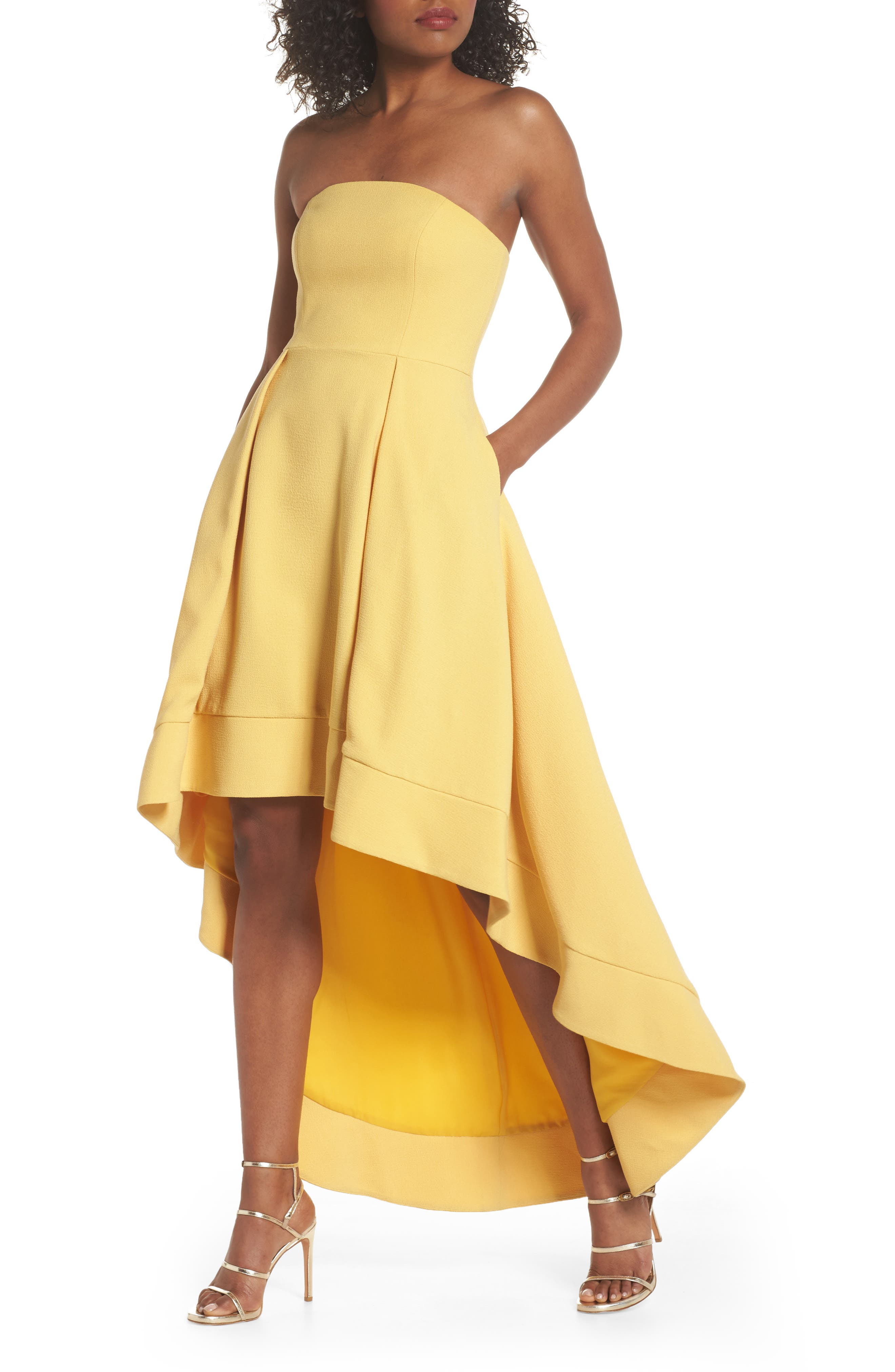 Entice Strapless Crepe Gown,                             Main thumbnail 1, color,                             Honey