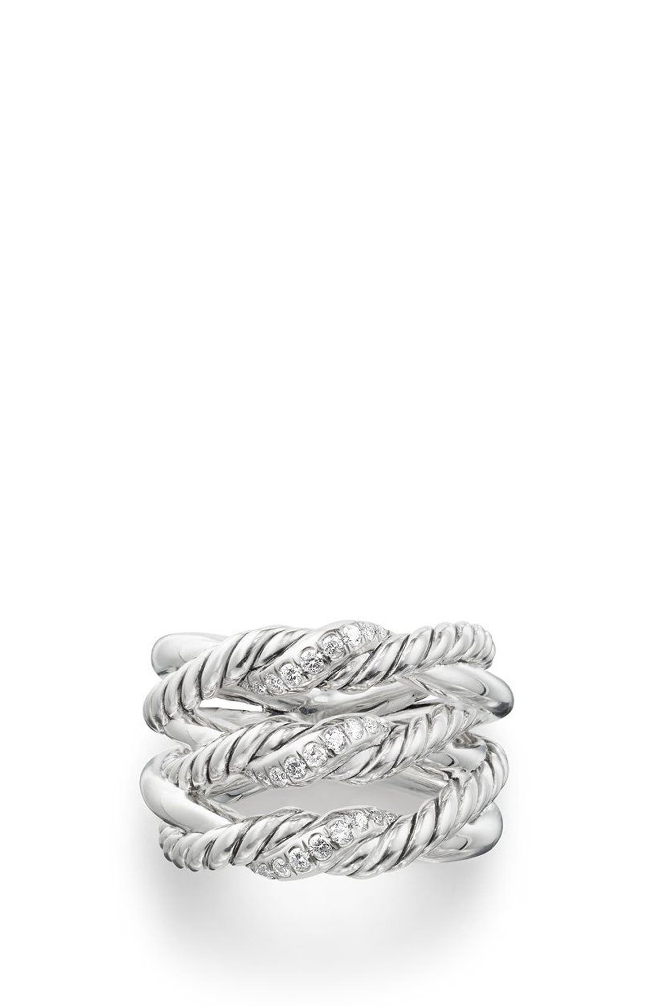 Continuance<sup>®</sup> 3-Row Ring with Diamonds,                             Alternate thumbnail 3, color,                             Silver/ Diamond