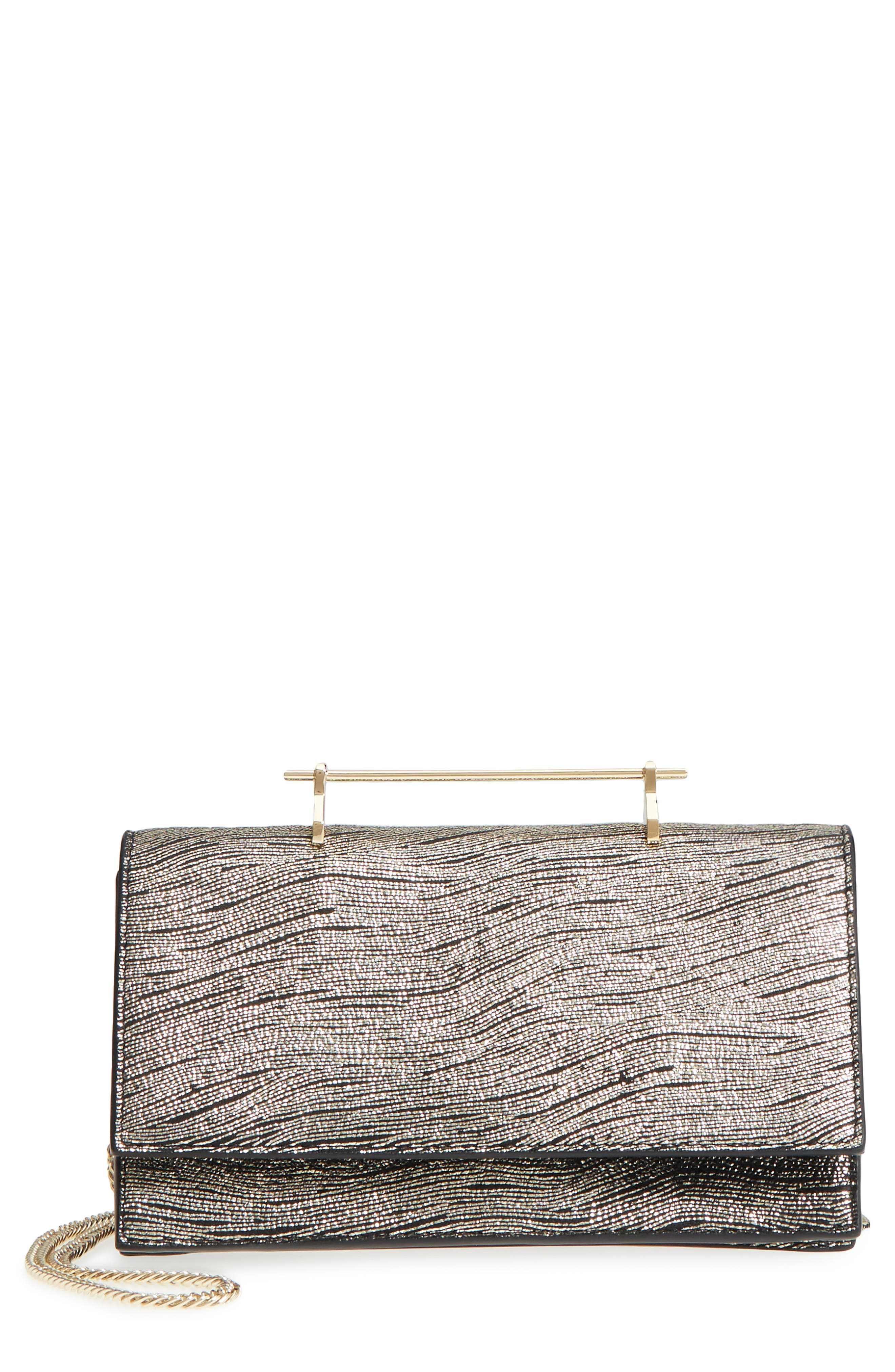 M2Malletier Alexia Metallic Calfskin Leather Clutch