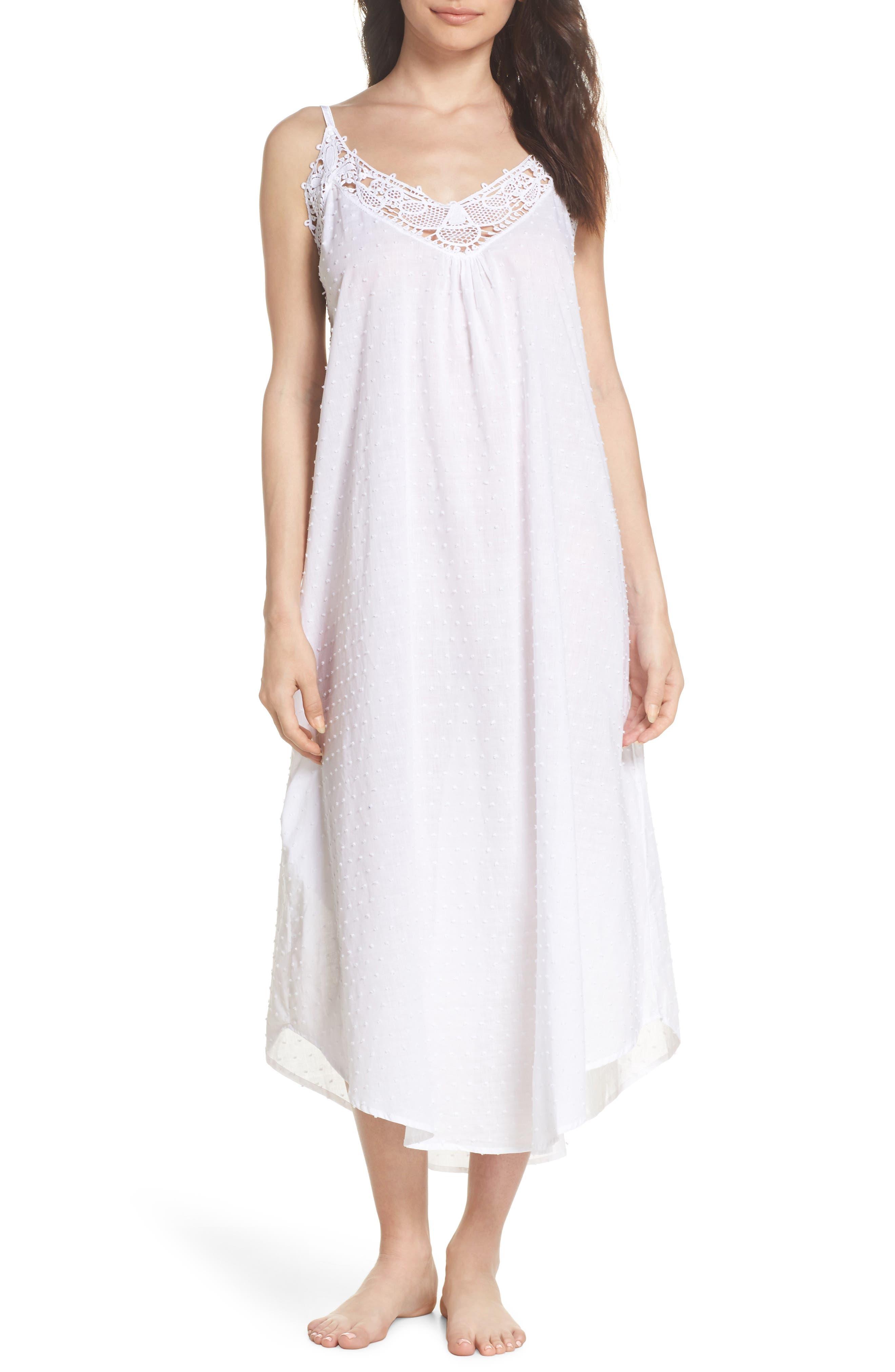Swiss Dot Nightgown,                             Main thumbnail 1, color,                             White