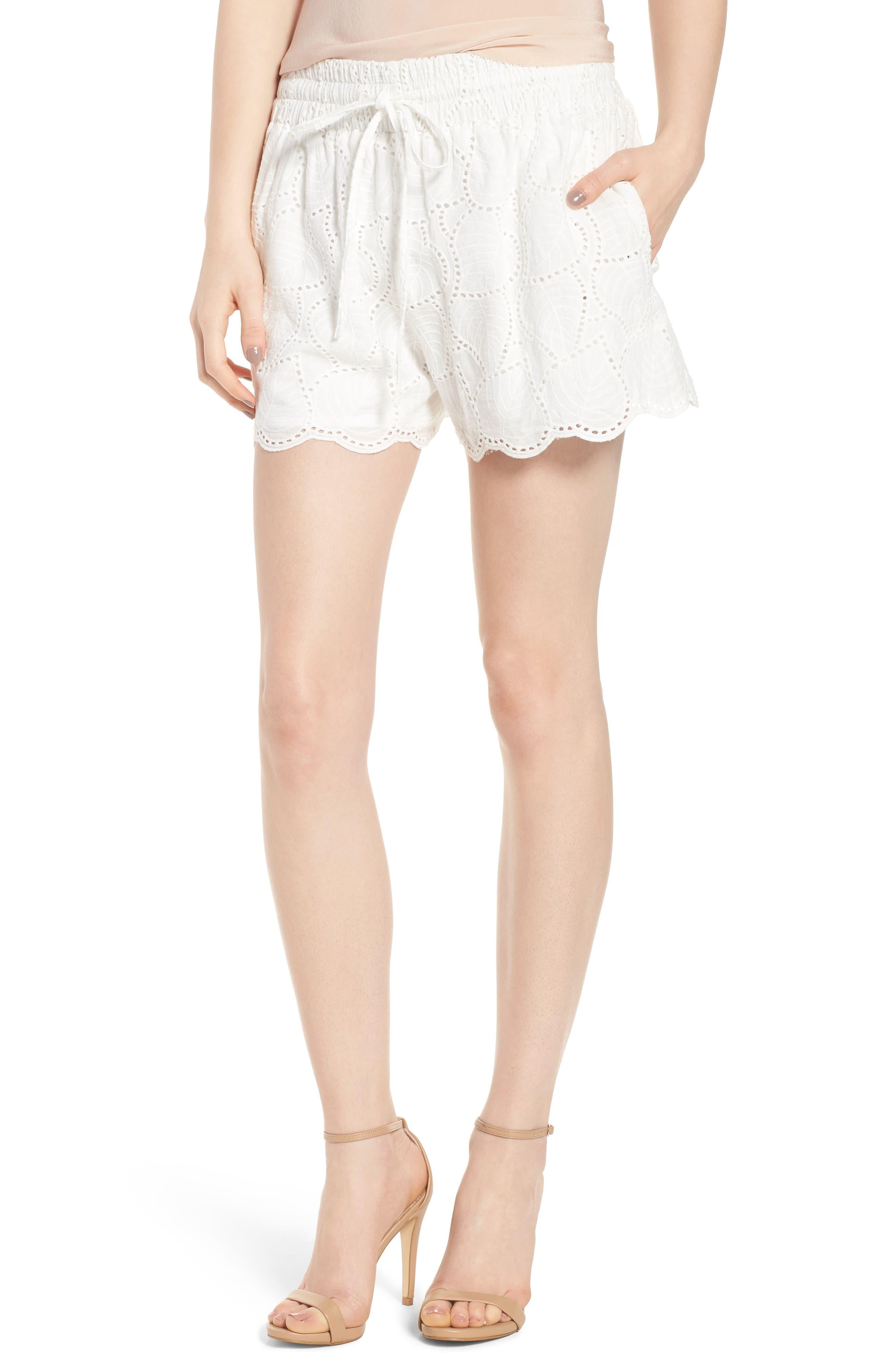 Bishop + Young Eyelet Shorts,                         Main,                         color, White