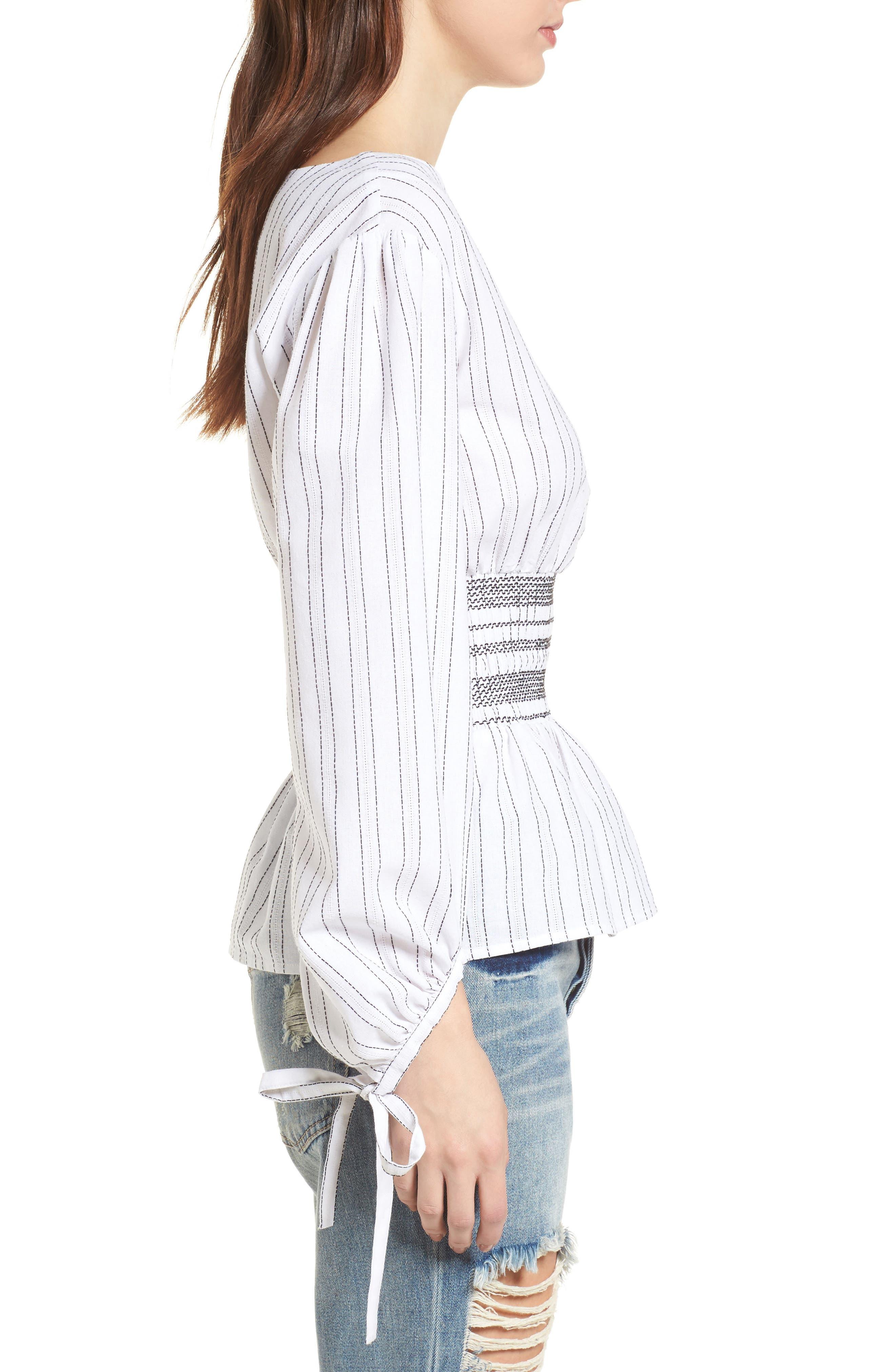 Stripe Peplum Top,                             Alternate thumbnail 4, color,                             Ivory/ Black