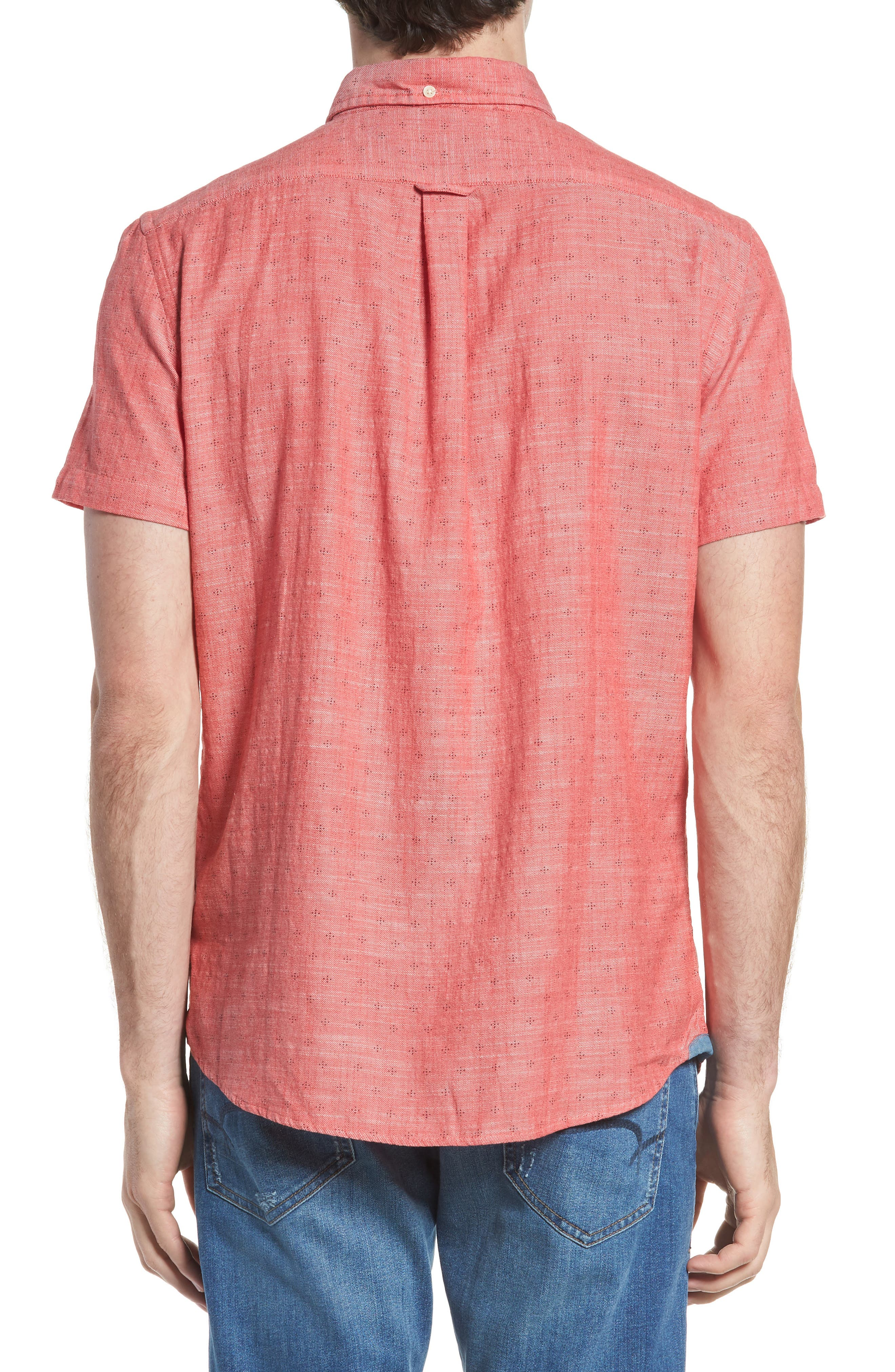 Pearson Print Short Sleeve Sport Shirt,                             Alternate thumbnail 3, color,                             Red Twill