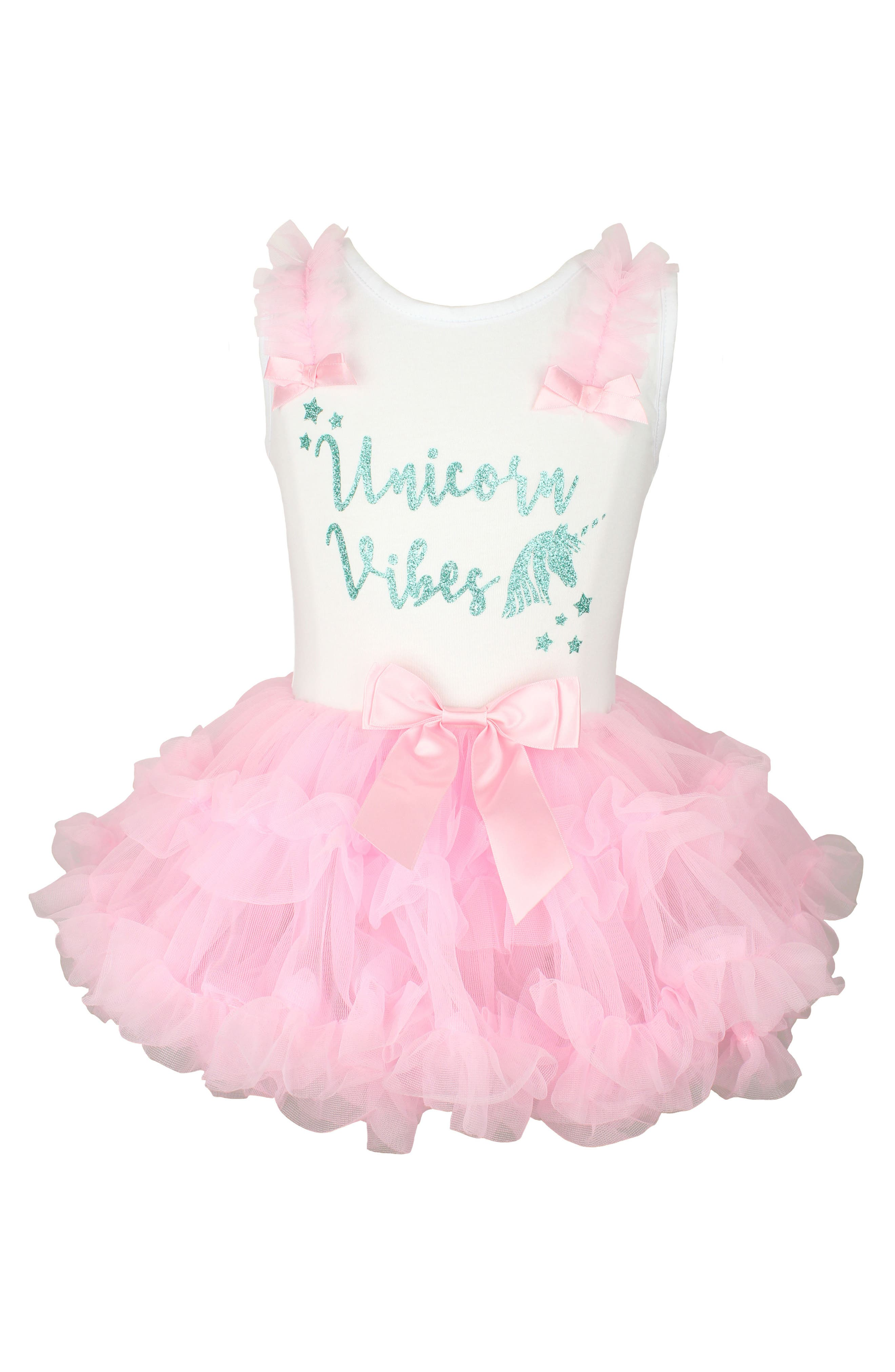 Unicorn Vibes Tutu Dress,                             Main thumbnail 1, color,                             Pink