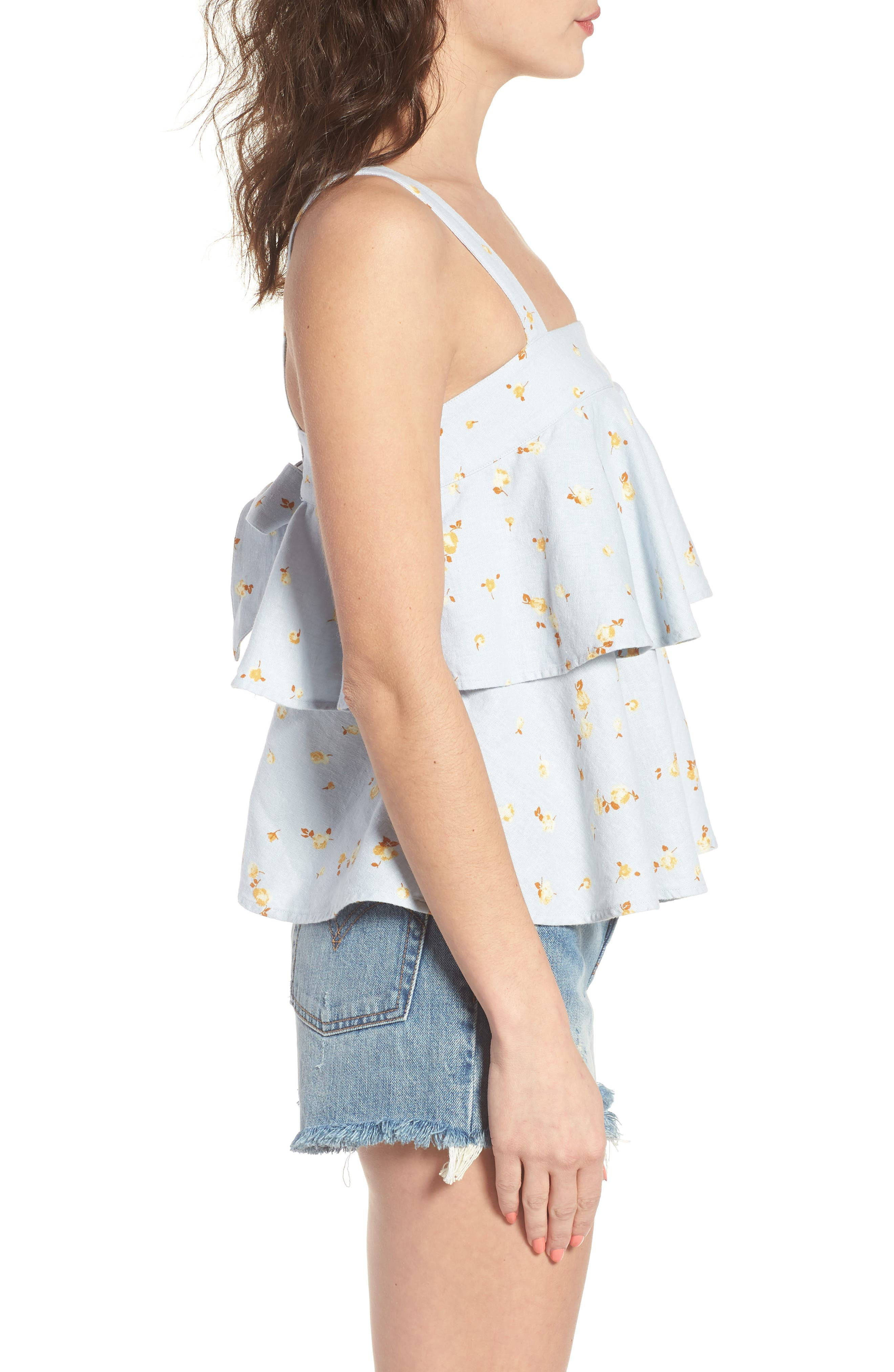 Tie Back Tiered Linen Blend Top,                             Alternate thumbnail 3, color,                             Blue Ice Scattered Blooms