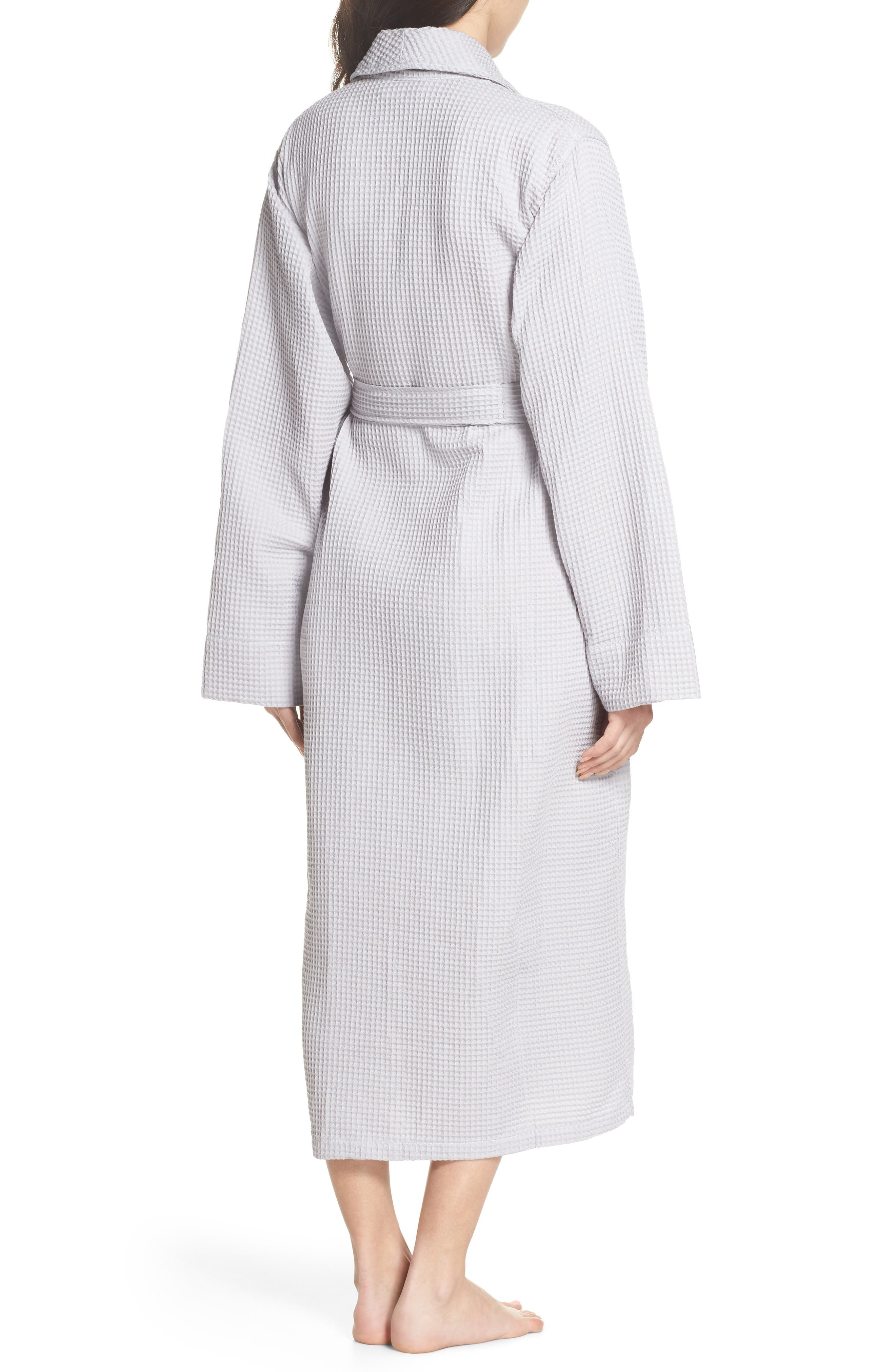 Waffle Knit Cotton Robe,                             Alternate thumbnail 2, color,                             Dove Grey