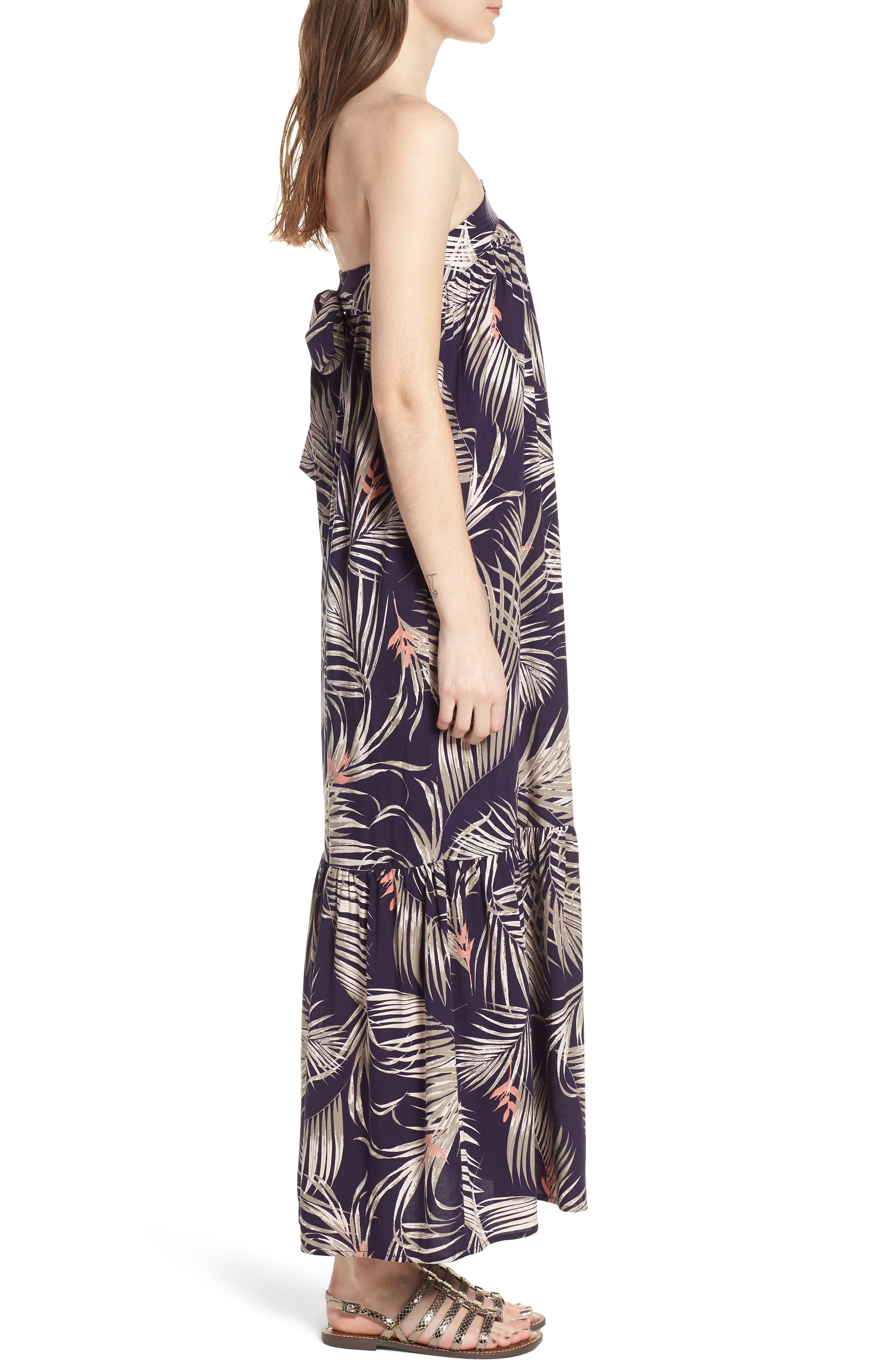 Sunset Cover-Up Maxi Dress,                             Alternate thumbnail 3, color,                             Latona Palm Evening Blue