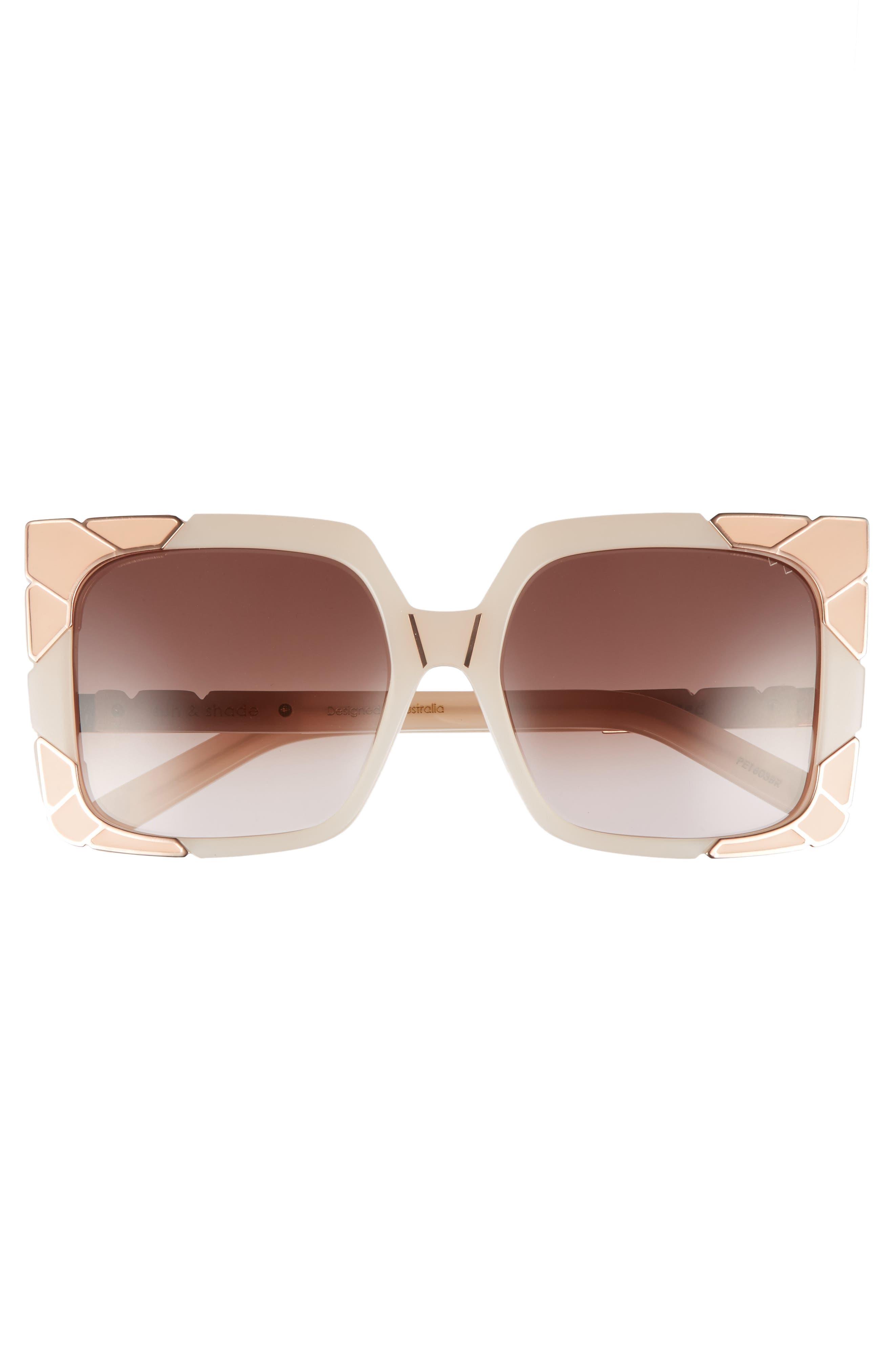 Sun & Shade 55mm Square Retro Sunglasses,                             Alternate thumbnail 3, color,                             Blush/ Rose Gold/ Brown