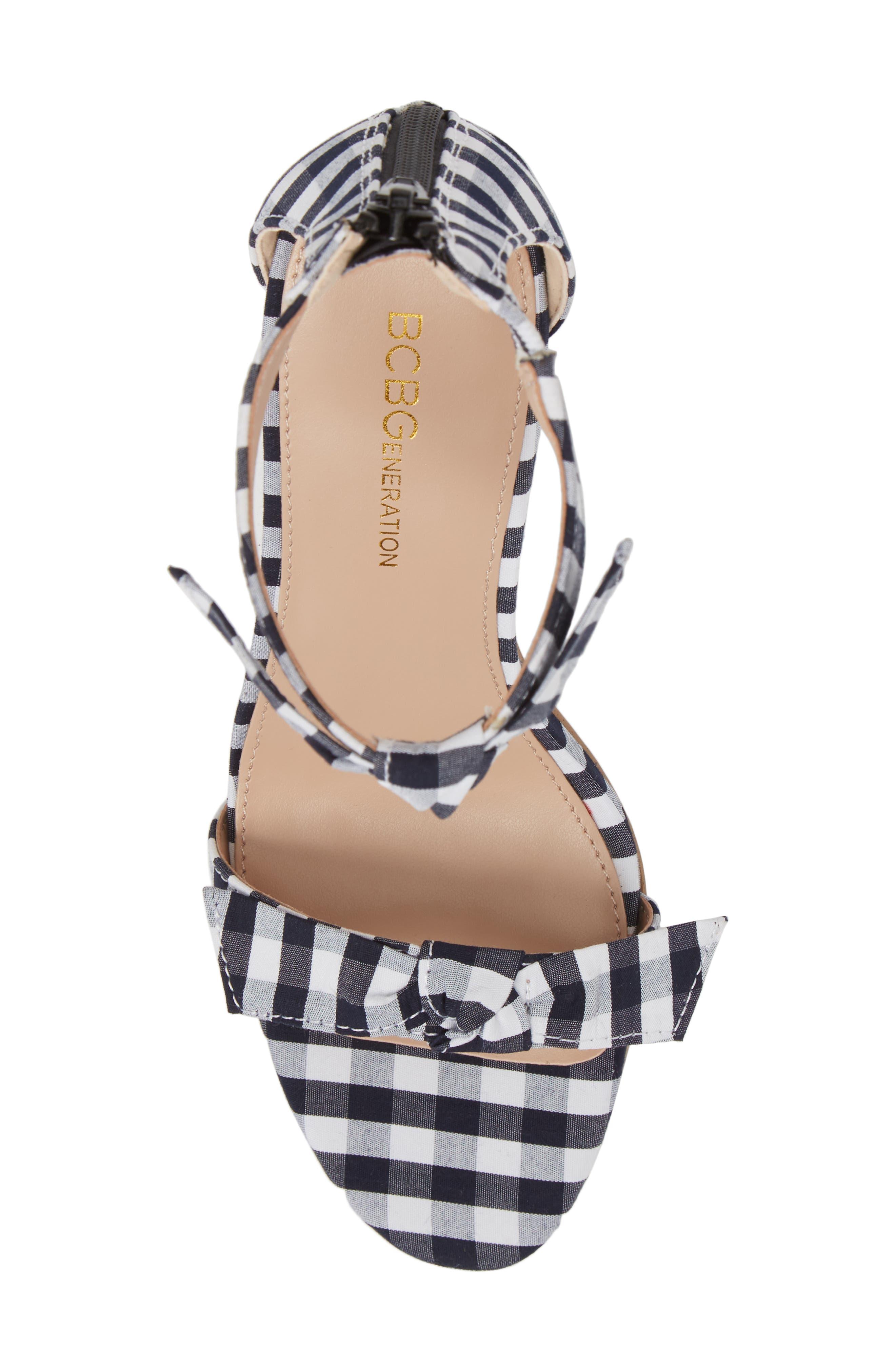 Faedra Ankle Strap Sandal,                             Alternate thumbnail 5, color,                             Dark Blue/ White