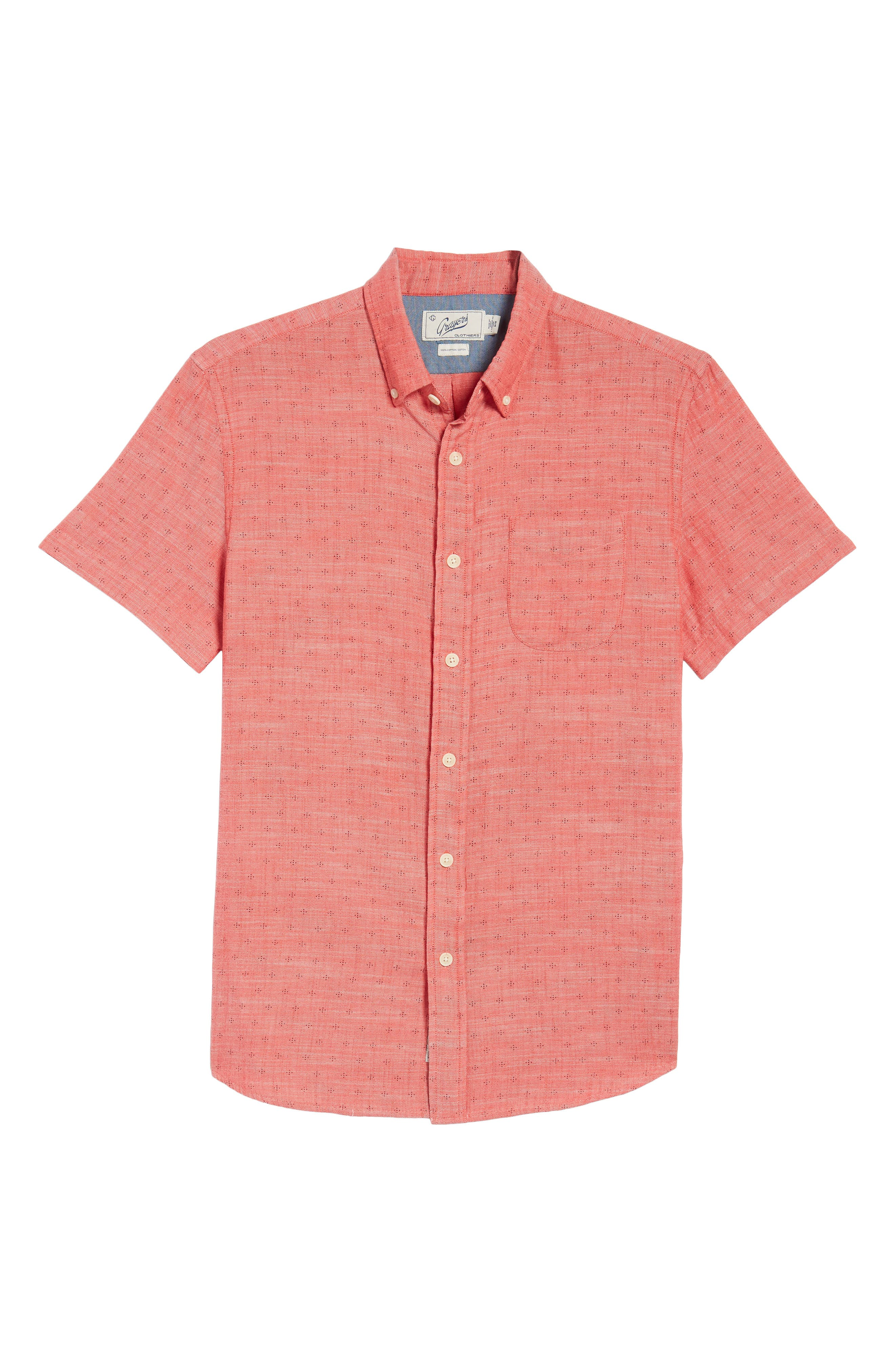 Pearson Print Short Sleeve Sport Shirt,                             Alternate thumbnail 6, color,                             Red Twill