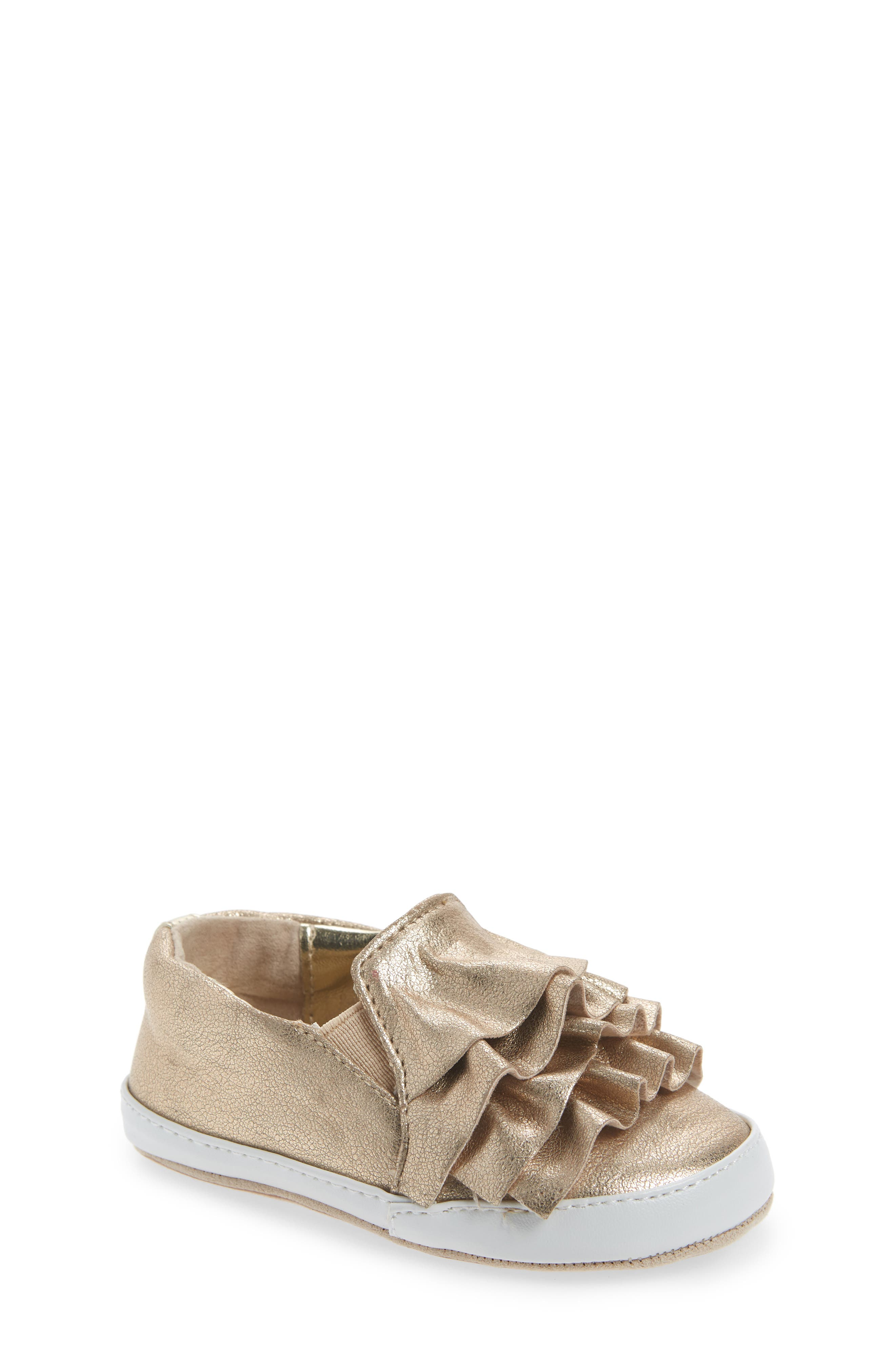 Ruffle Metallic Kam Slip-On Sneaker,                         Main,                         color, Gold