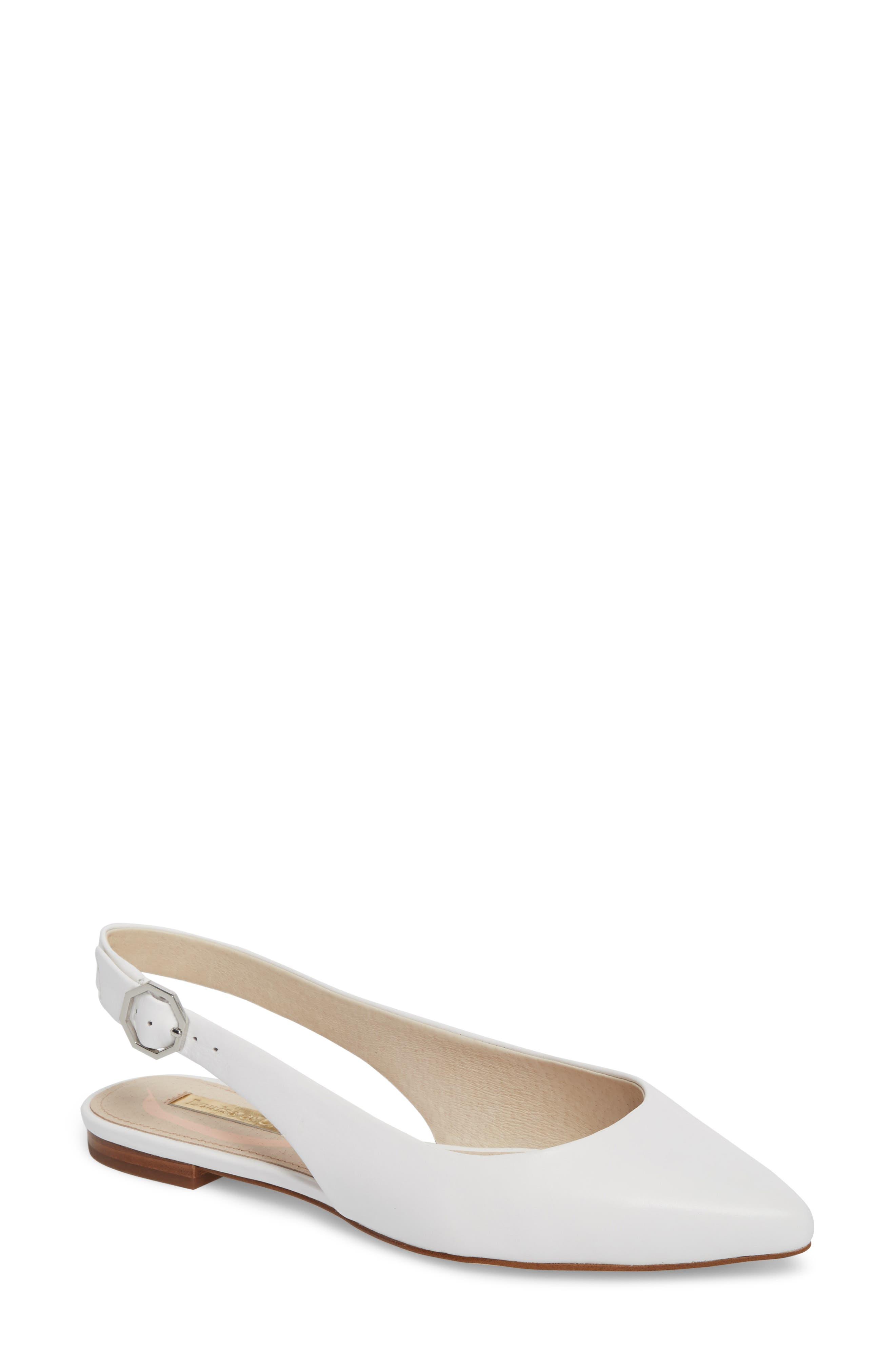 Astrya Slingback Flat,                         Main,                         color, White Leather