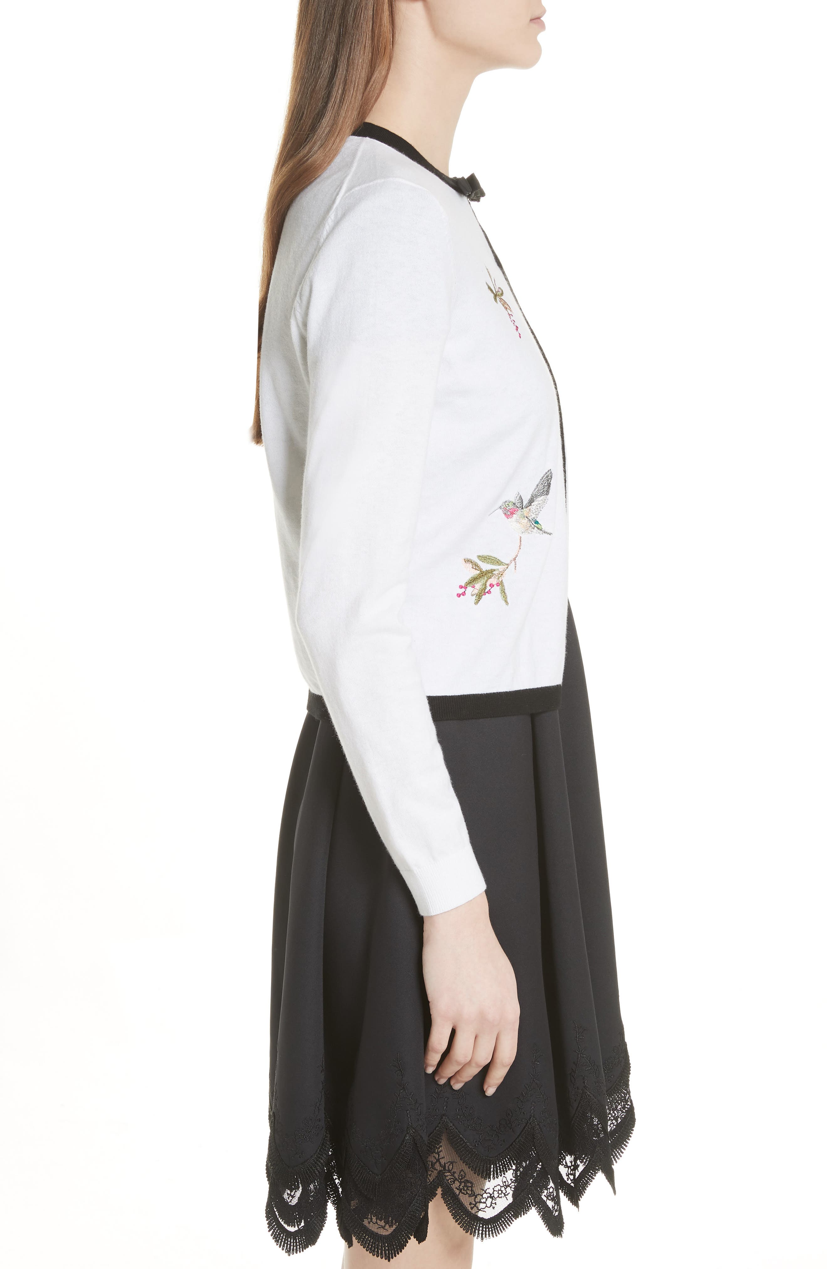 High Grove Embroidered Cardigan,                             Alternate thumbnail 3, color,                             White