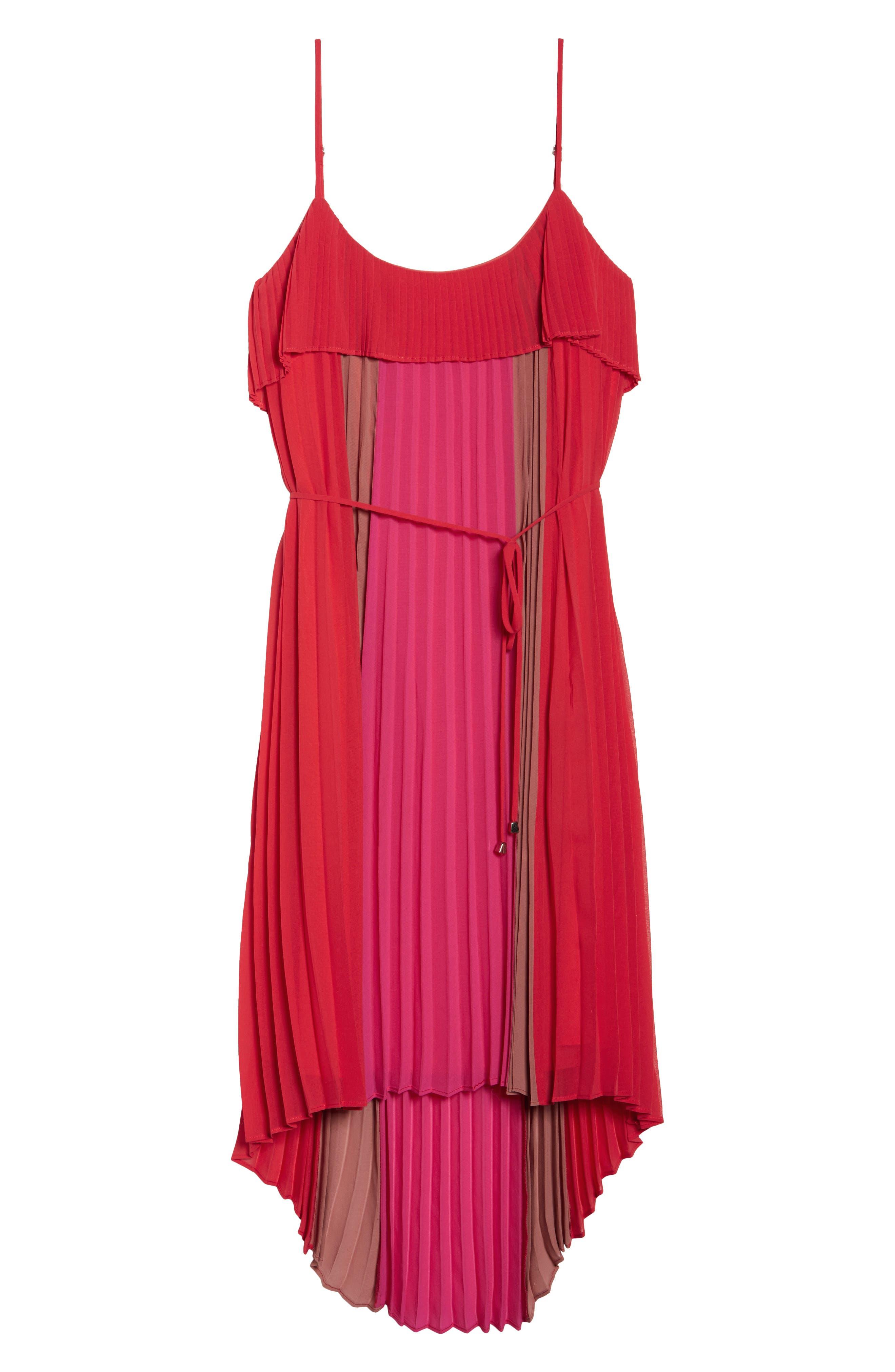 Pepper Pleated Dress,                             Alternate thumbnail 6, color,                             Red Multi