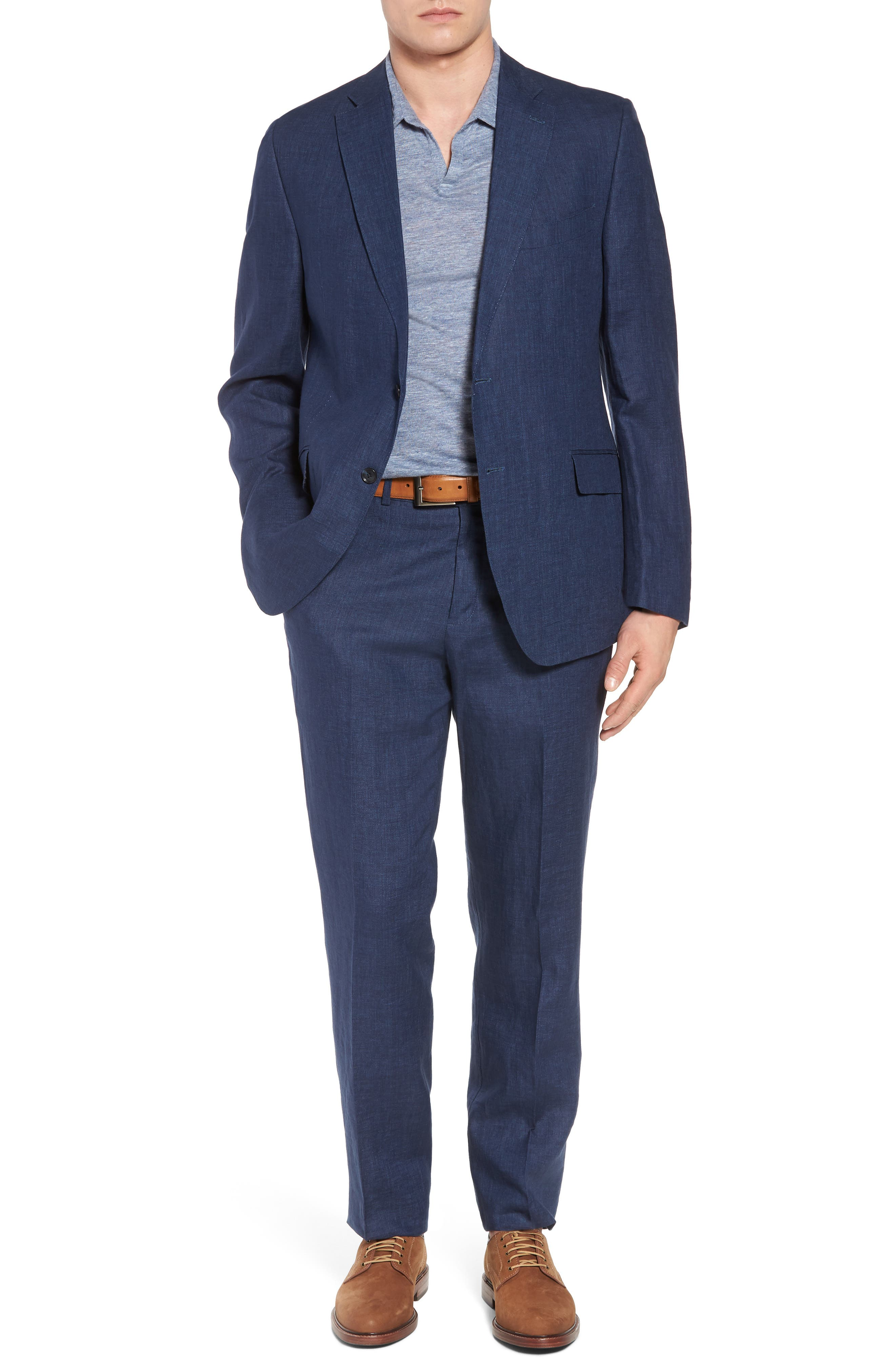 Andrew AIM Flat Front Linen Trousers,                             Alternate thumbnail 7, color,                             Navy
