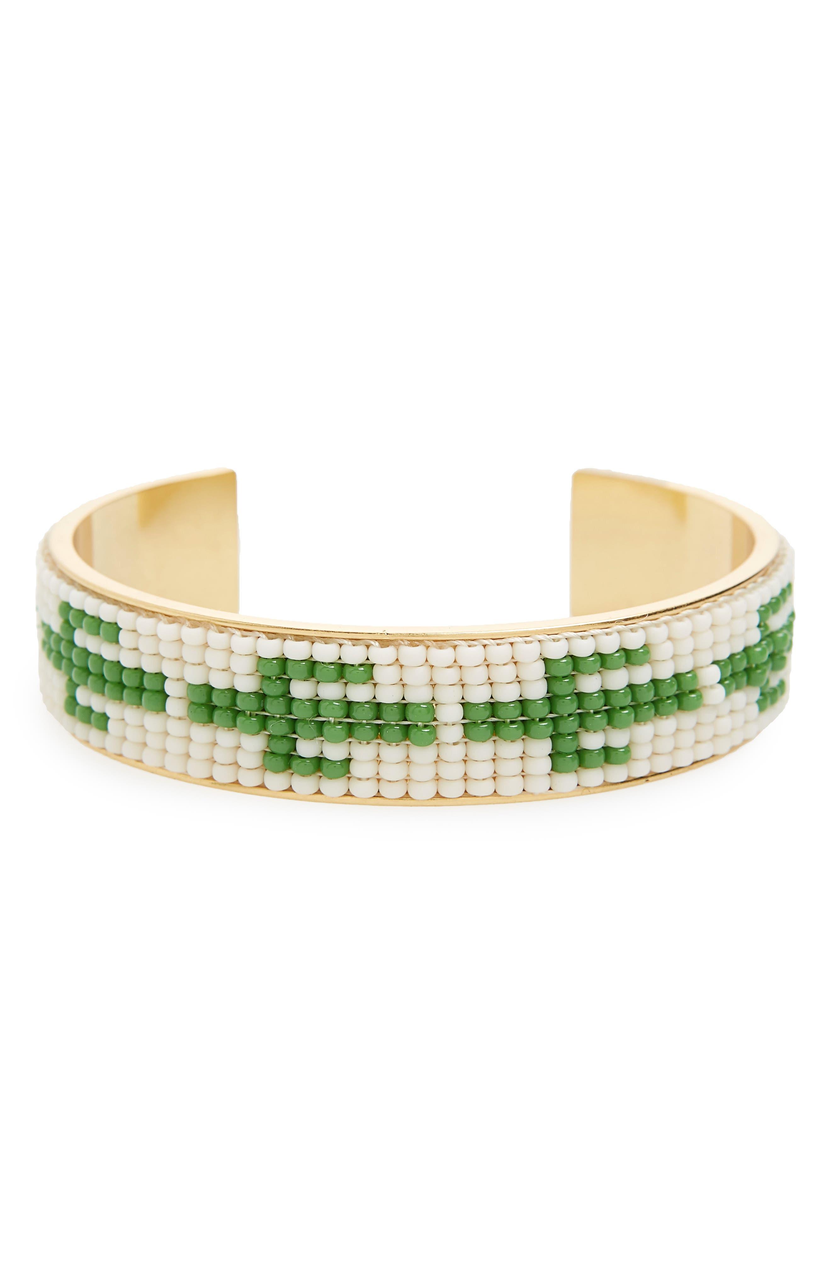 Beaded Cuff Bracelet,                         Main,                         color, Cactus Green