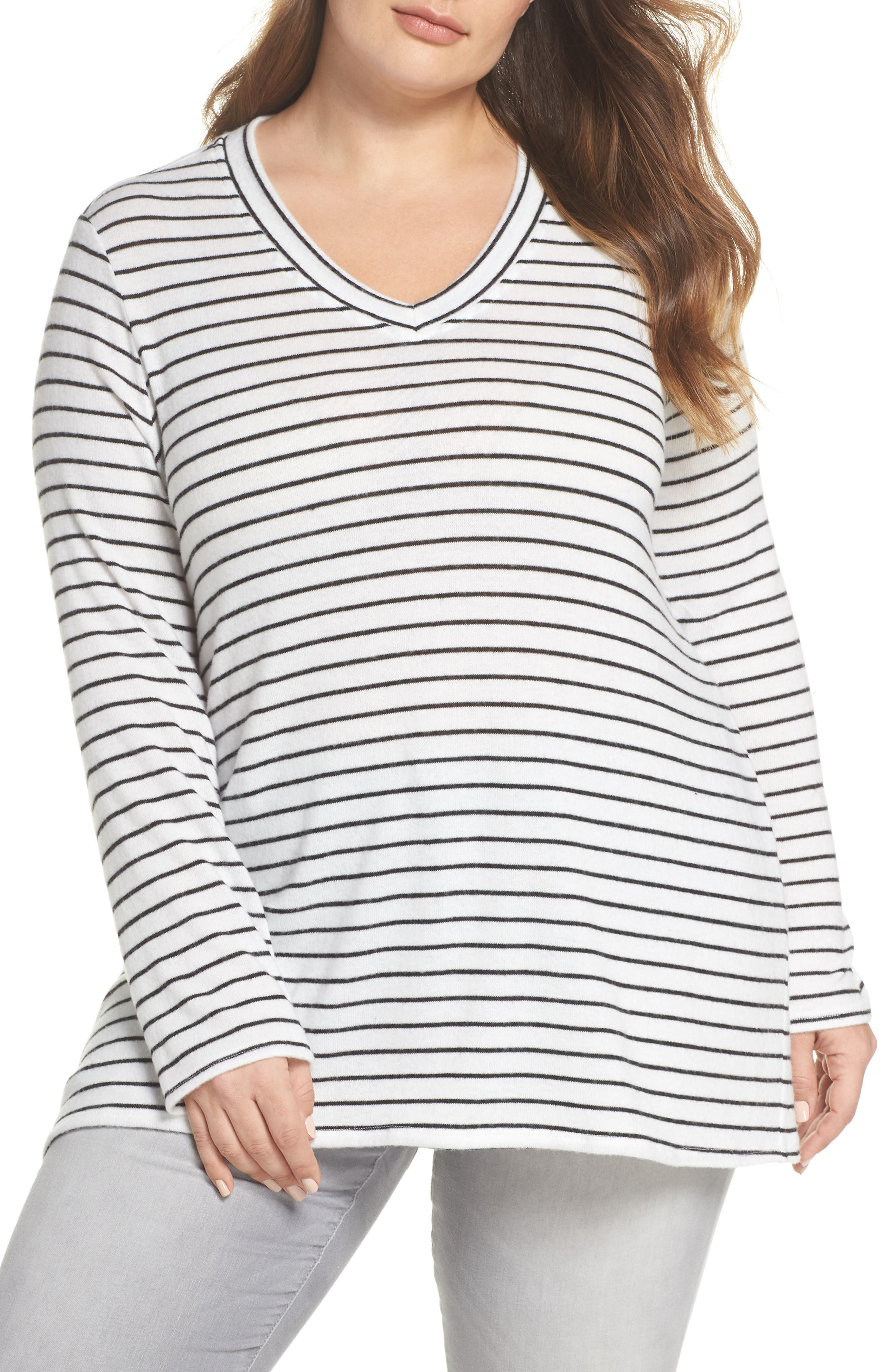 x Living in Yellow Steph Stripe Top,                             Main thumbnail 1, color,                             Black/ White Stripe