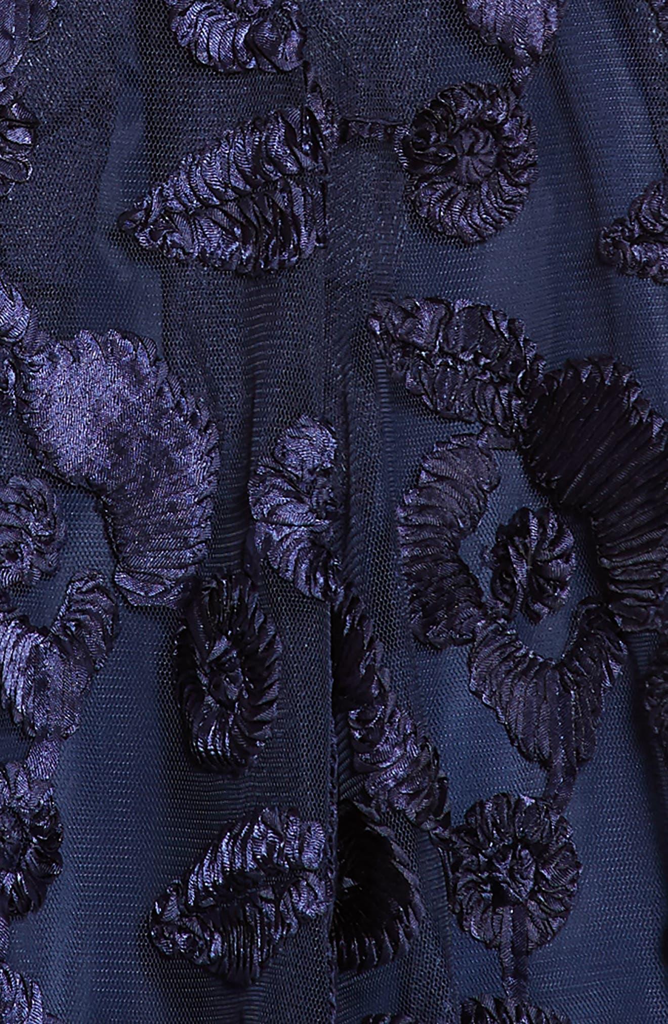 Floral Soutache Tulle Dress,                             Alternate thumbnail 3, color,                             Navy