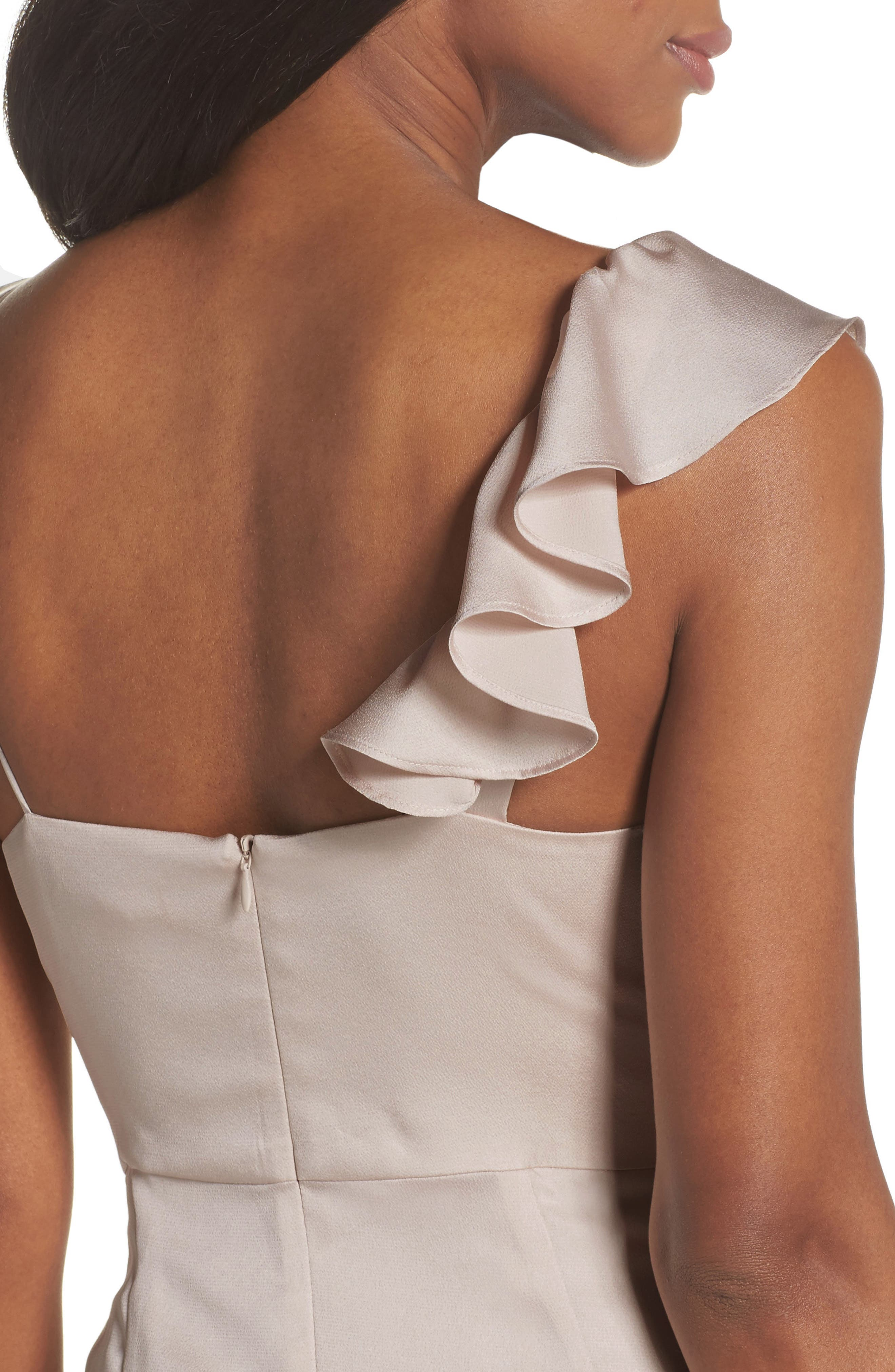 Luxe Asymmetrical Frill Maxi Dress,                             Alternate thumbnail 11, color,                             Porcelain