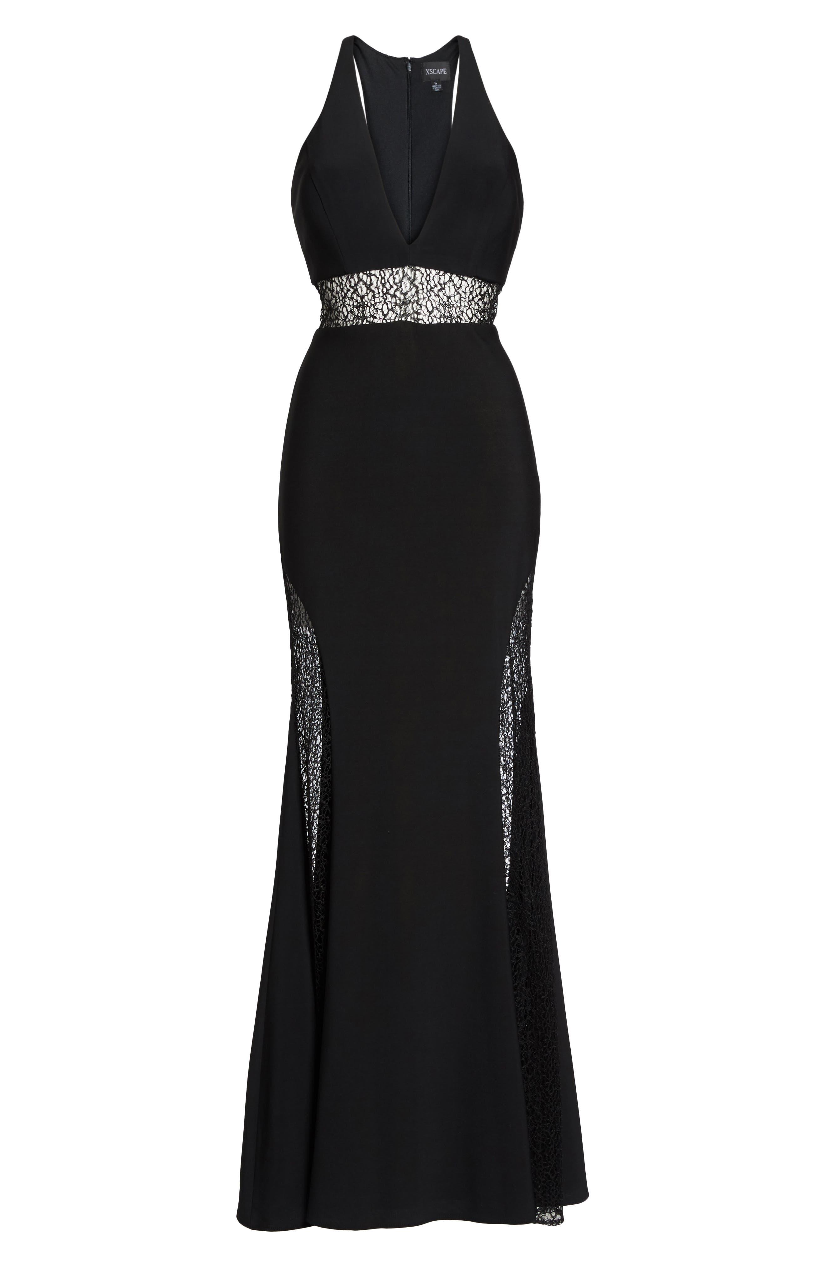 Lace Inset Gown,                             Alternate thumbnail 6, color,                             Black