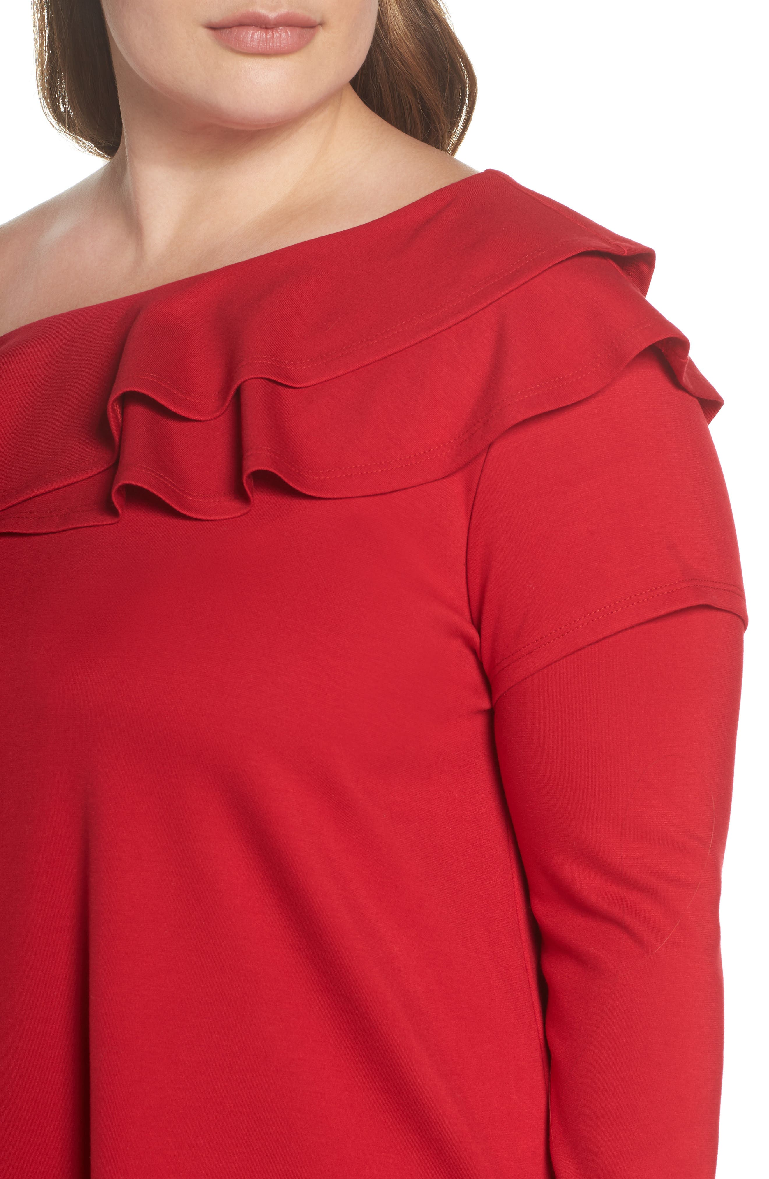 x Living in Yellow Elizabeth One-Shoulder Ruffle Top,                             Alternate thumbnail 8, color,                             Red