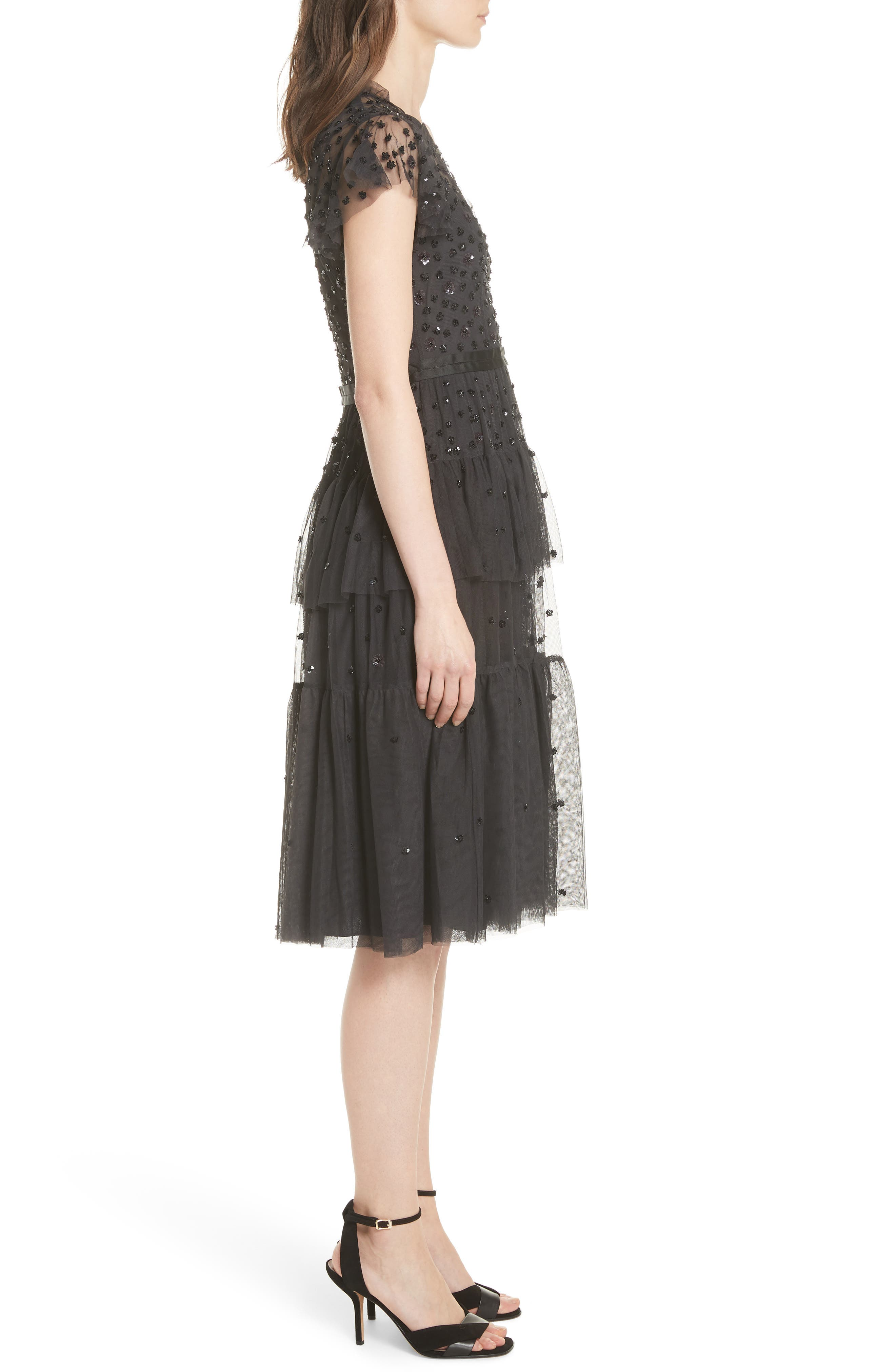 Mirage Sequin Dress,                             Alternate thumbnail 3, color,                             Graphite