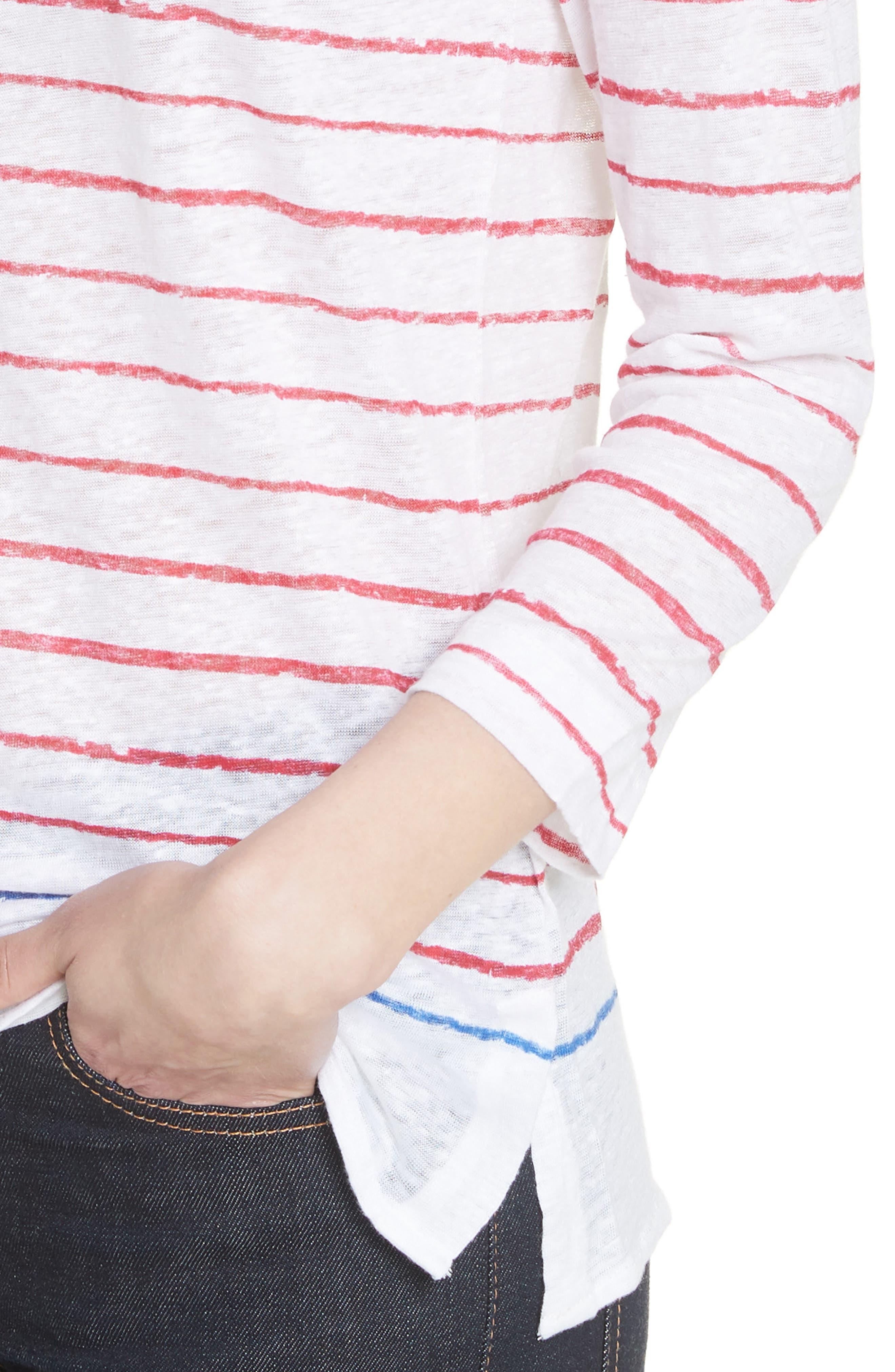 Stripe Three Quarter Sleeve Tee,                             Alternate thumbnail 4, color,                             Rouge/ Indigo Blue