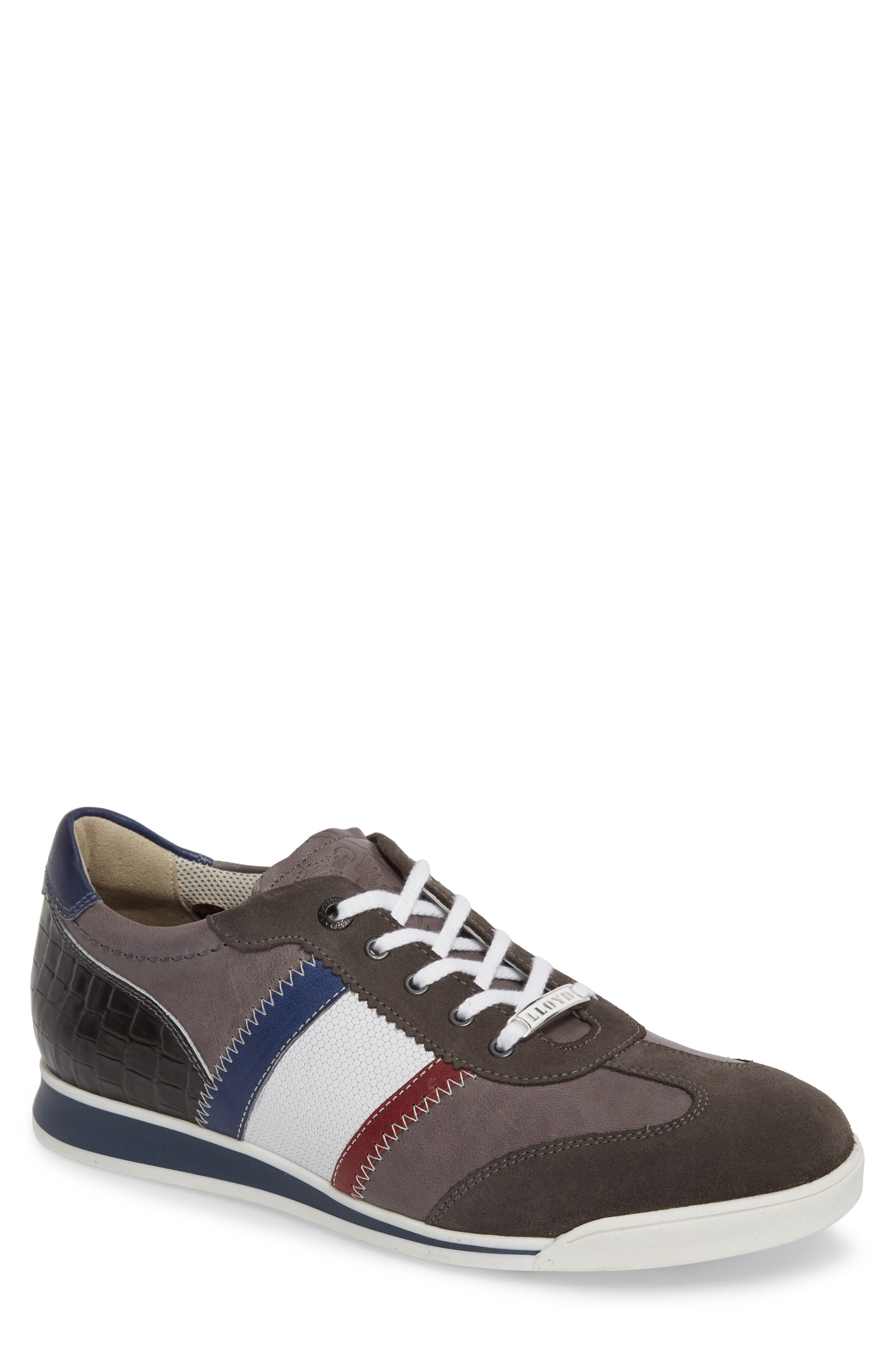 Aaron Low Top Sneaker,                         Main,                         color, Grey Leather/ Suede