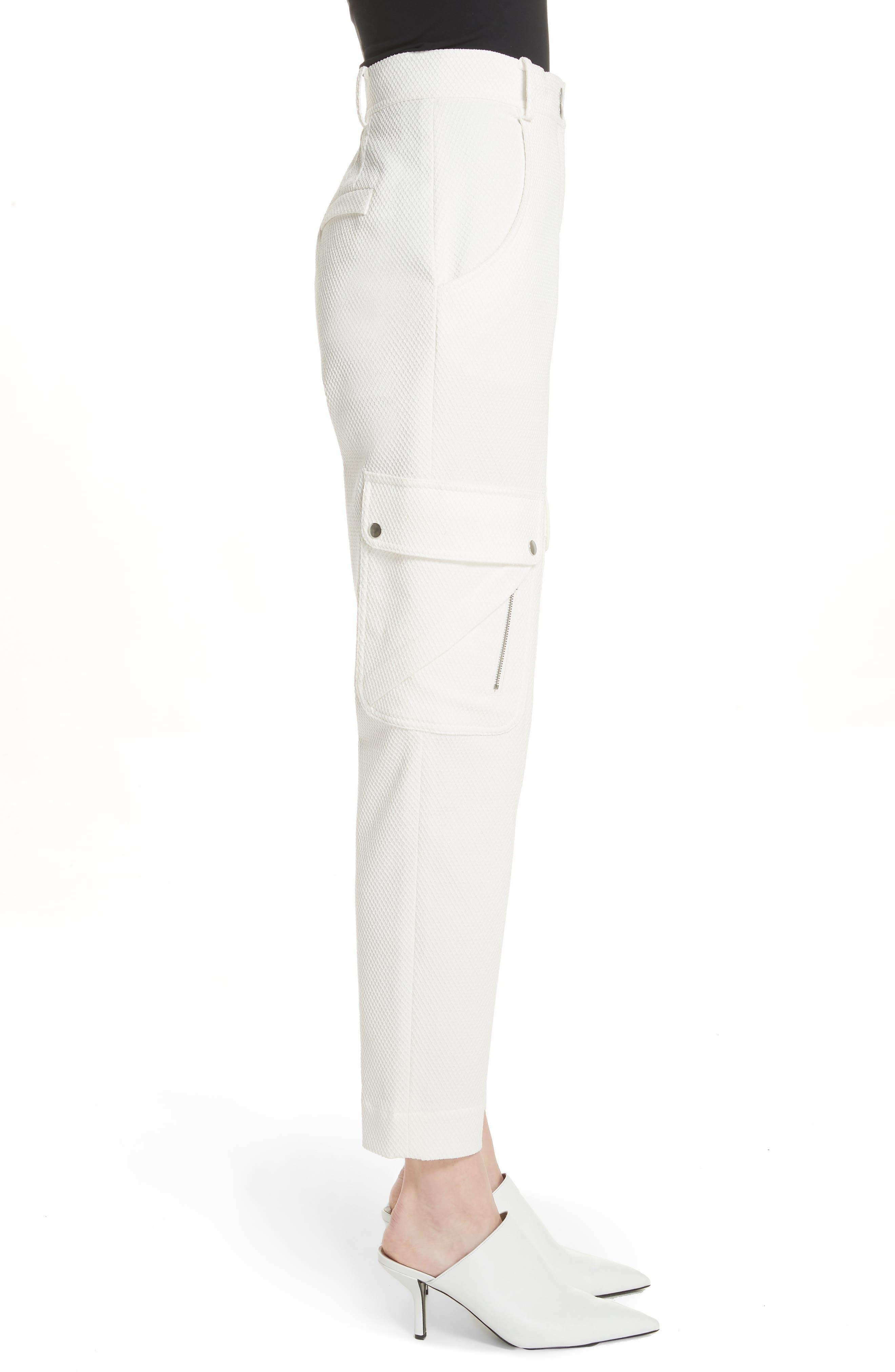 Textured Stretch Cotton Blend Utility Pants,                             Alternate thumbnail 3, color,                             Soft White