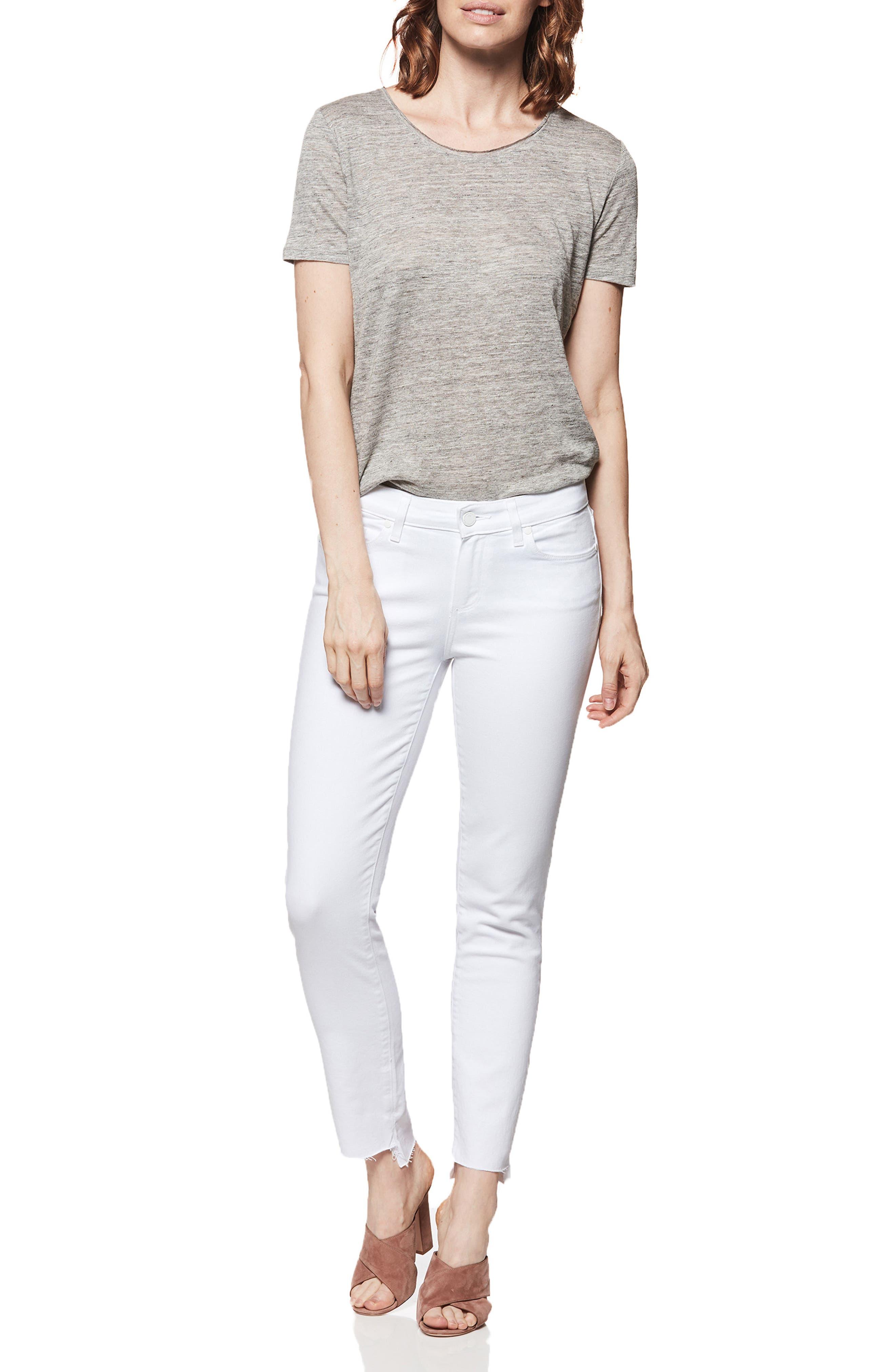 Skyline Ankle Skinny Jeans,                             Alternate thumbnail 3, color,                             Crisp White