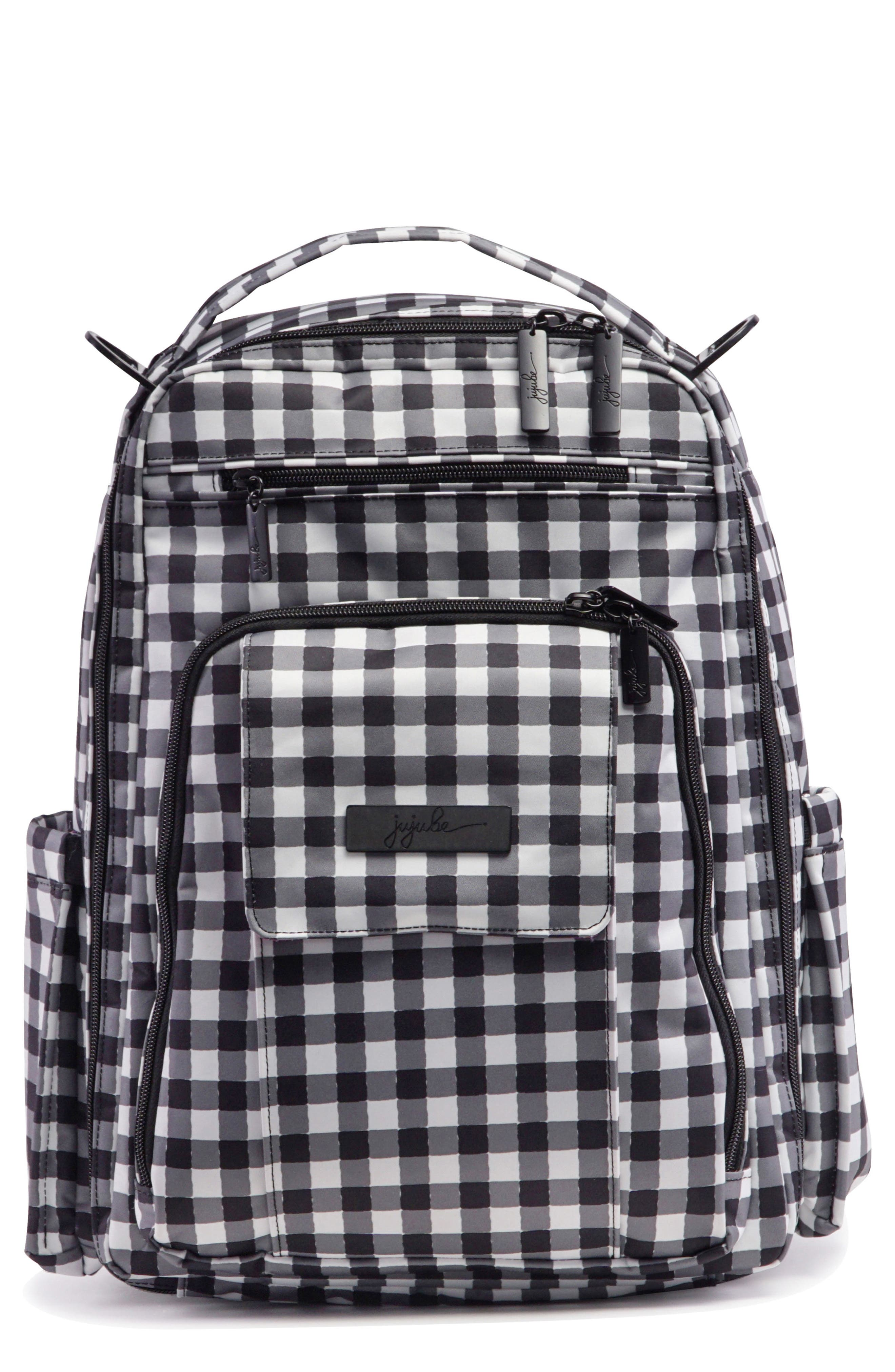 'Be Right Back - Onyx Collection' Diaper Backpack,                             Main thumbnail 1, color,                             Gingham Style