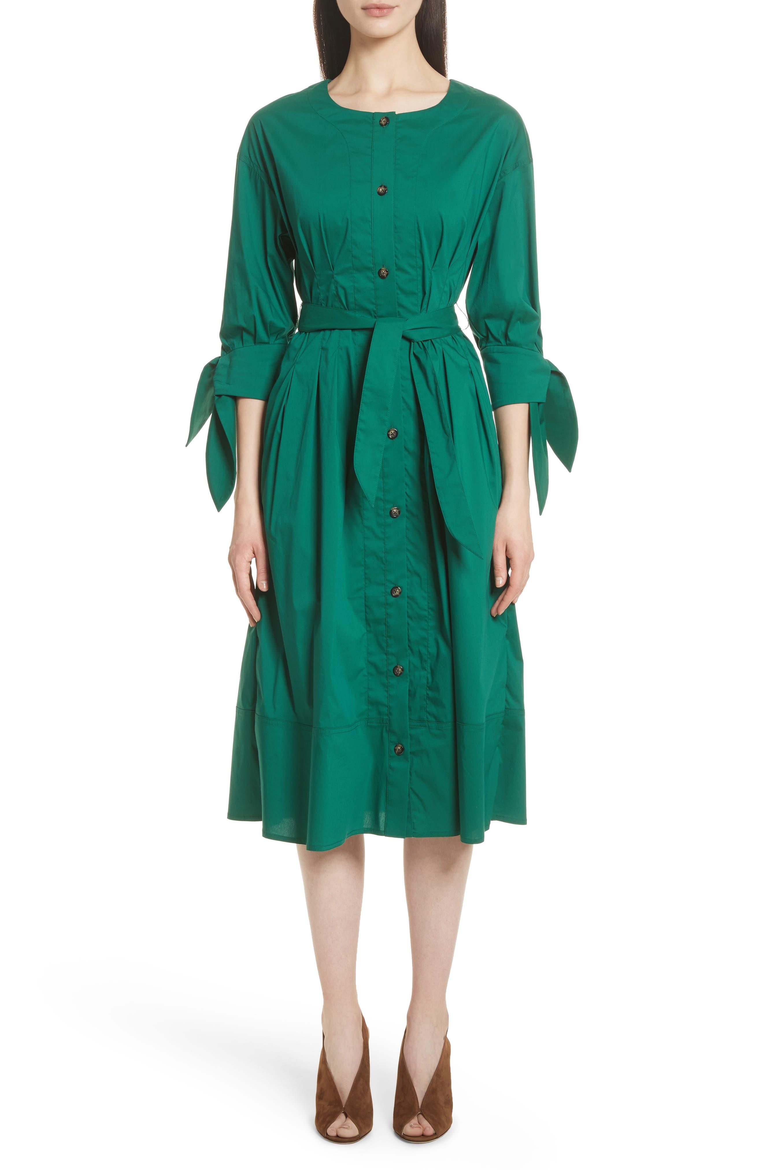 Cotton Blend Tie Dress,                         Main,                         color, Emerald