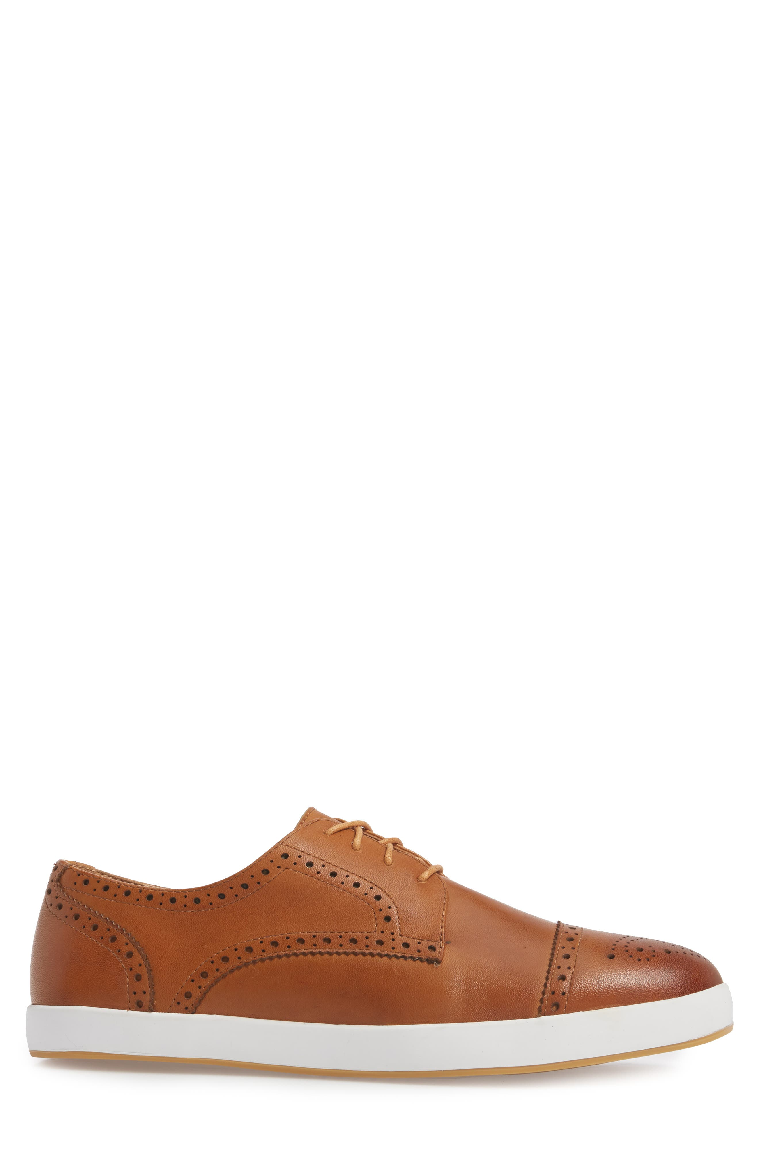 Dunnet Cap Toe Sneaker,                             Alternate thumbnail 3, color,                             Cognac Leather