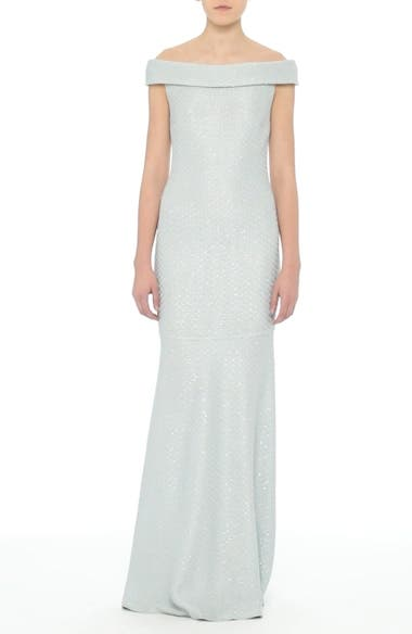 Alternate Image 1 Selected - St. John Evening Hansh Sequin Knit Off the Shoulder Gown