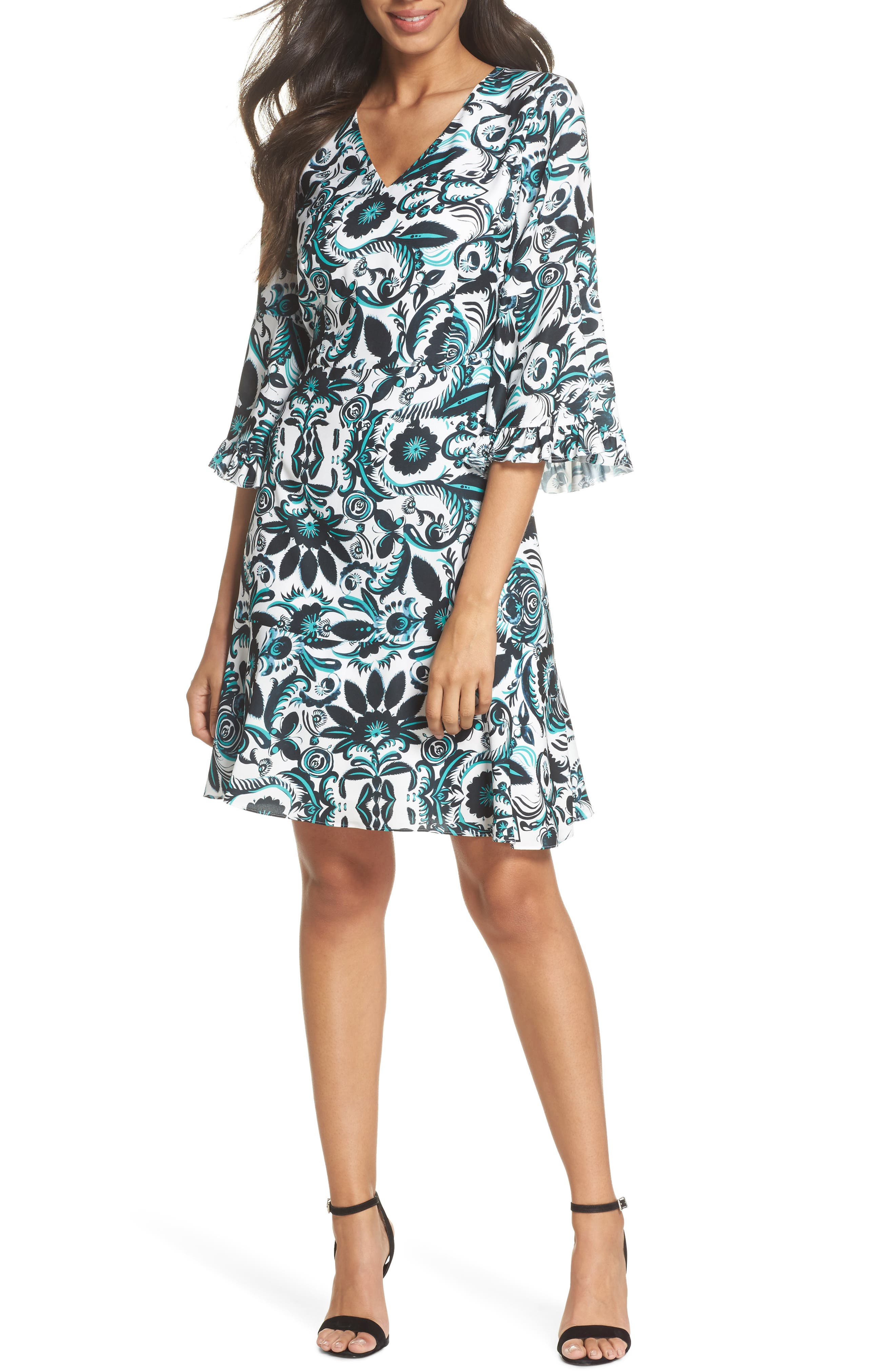 Scottie Fit & Flare Dress,                             Main thumbnail 1, color,                             White Multi