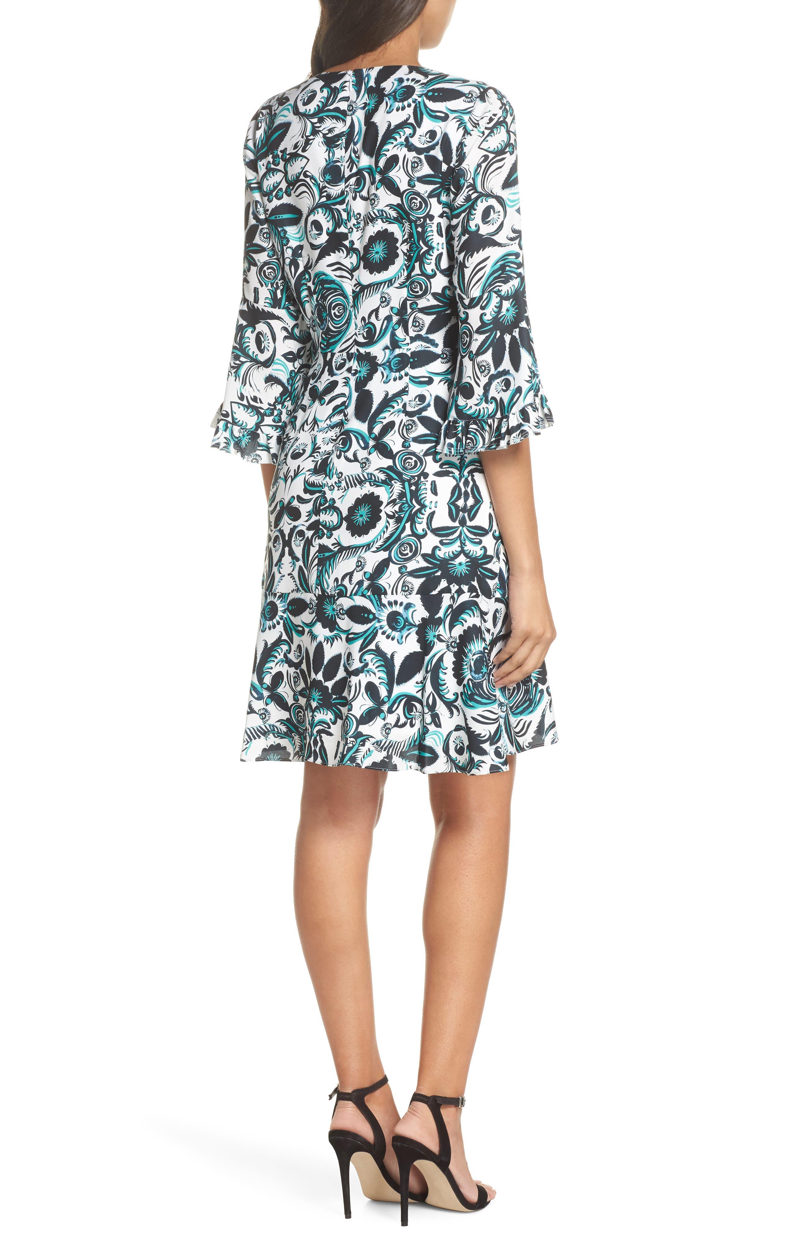 Scottie Fit & Flare Dress,                             Alternate thumbnail 2, color,                             White Multi