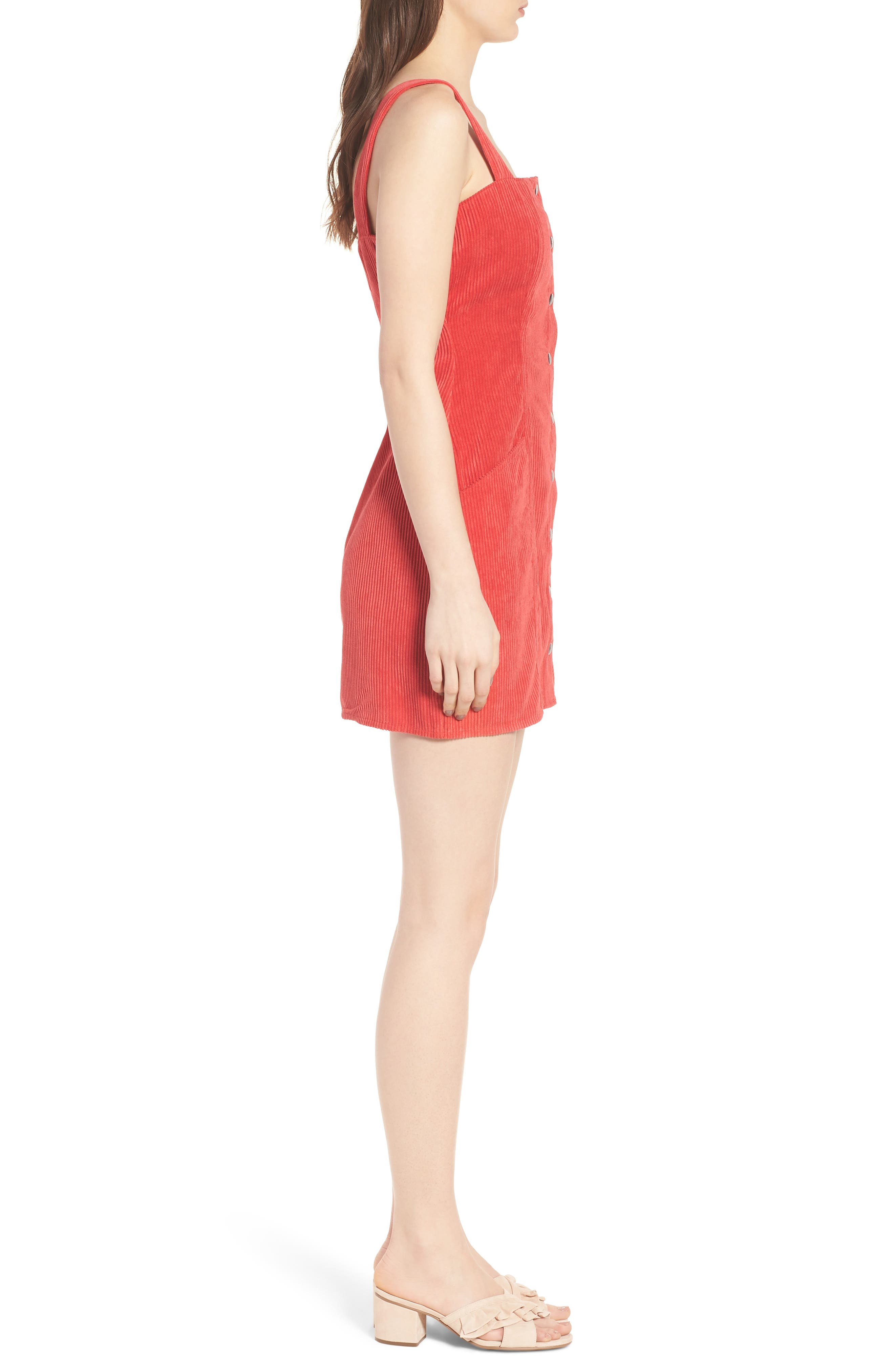 Button Front Corduroy Dress,                             Alternate thumbnail 3, color,                             Red