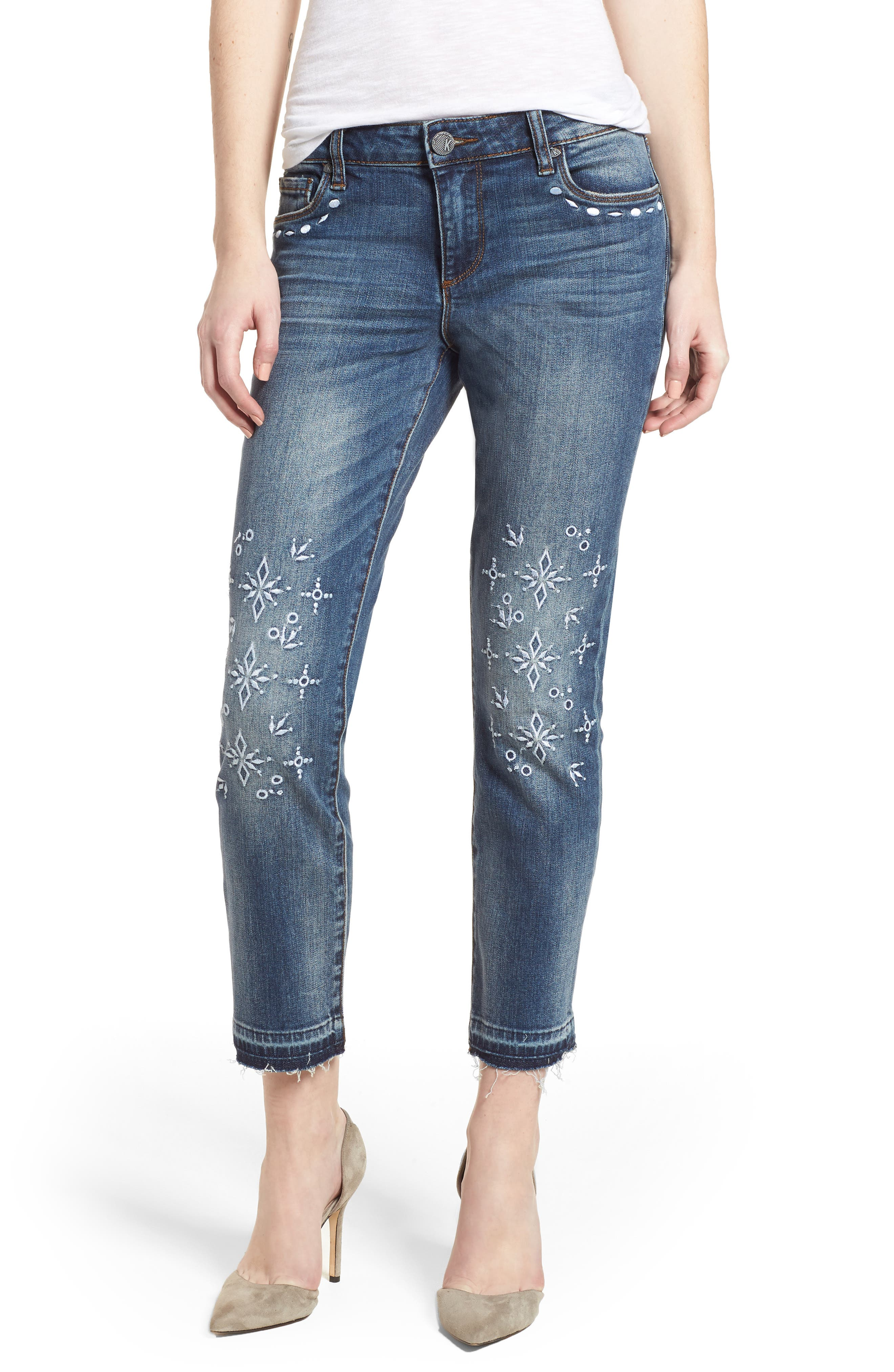 Reese Release Hem Embroidered Jeans,                             Main thumbnail 1, color,                             Originated