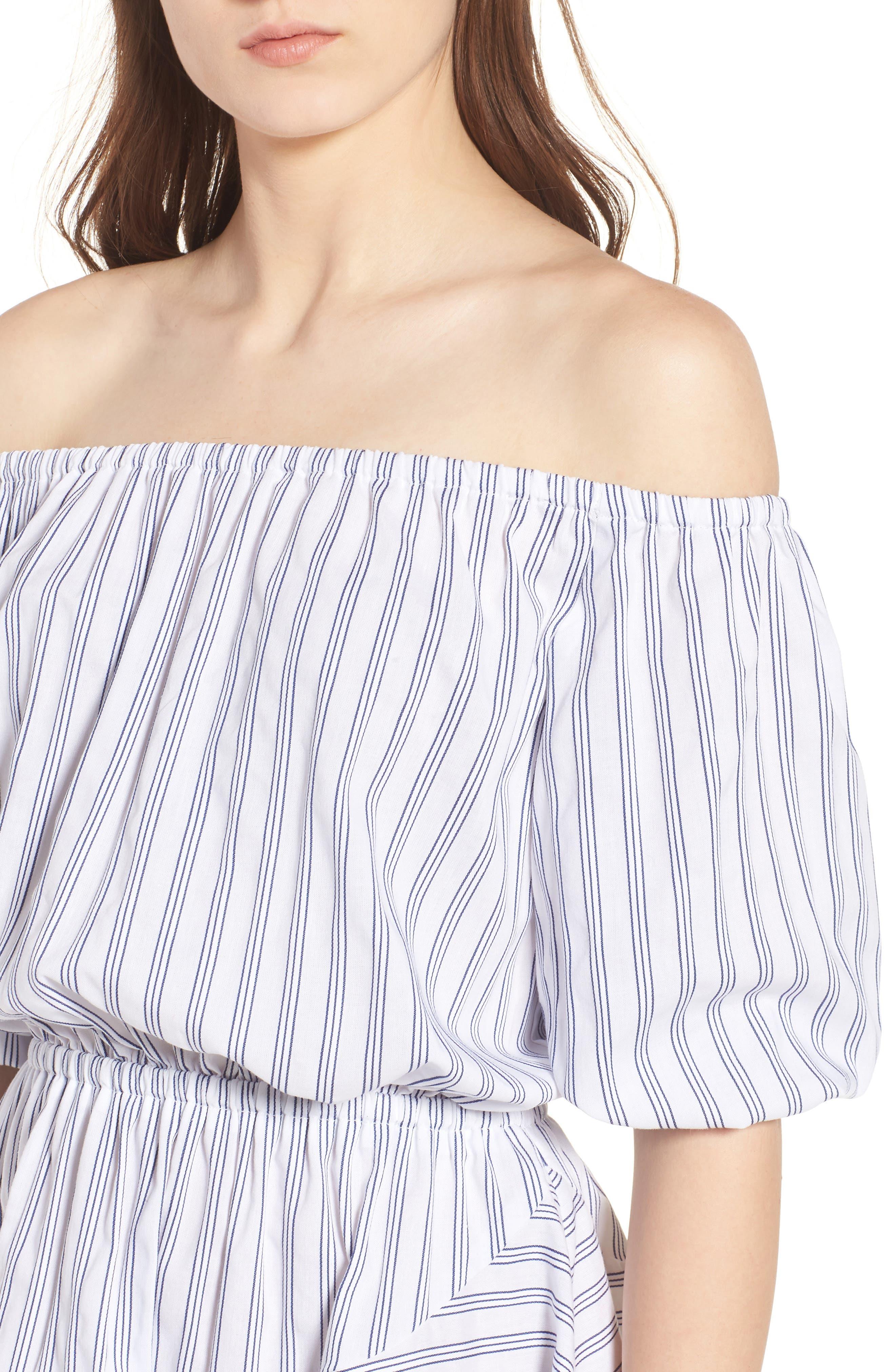 Barbados Stripe Off the Shoulder Dress,                             Alternate thumbnail 4, color,                             Blue