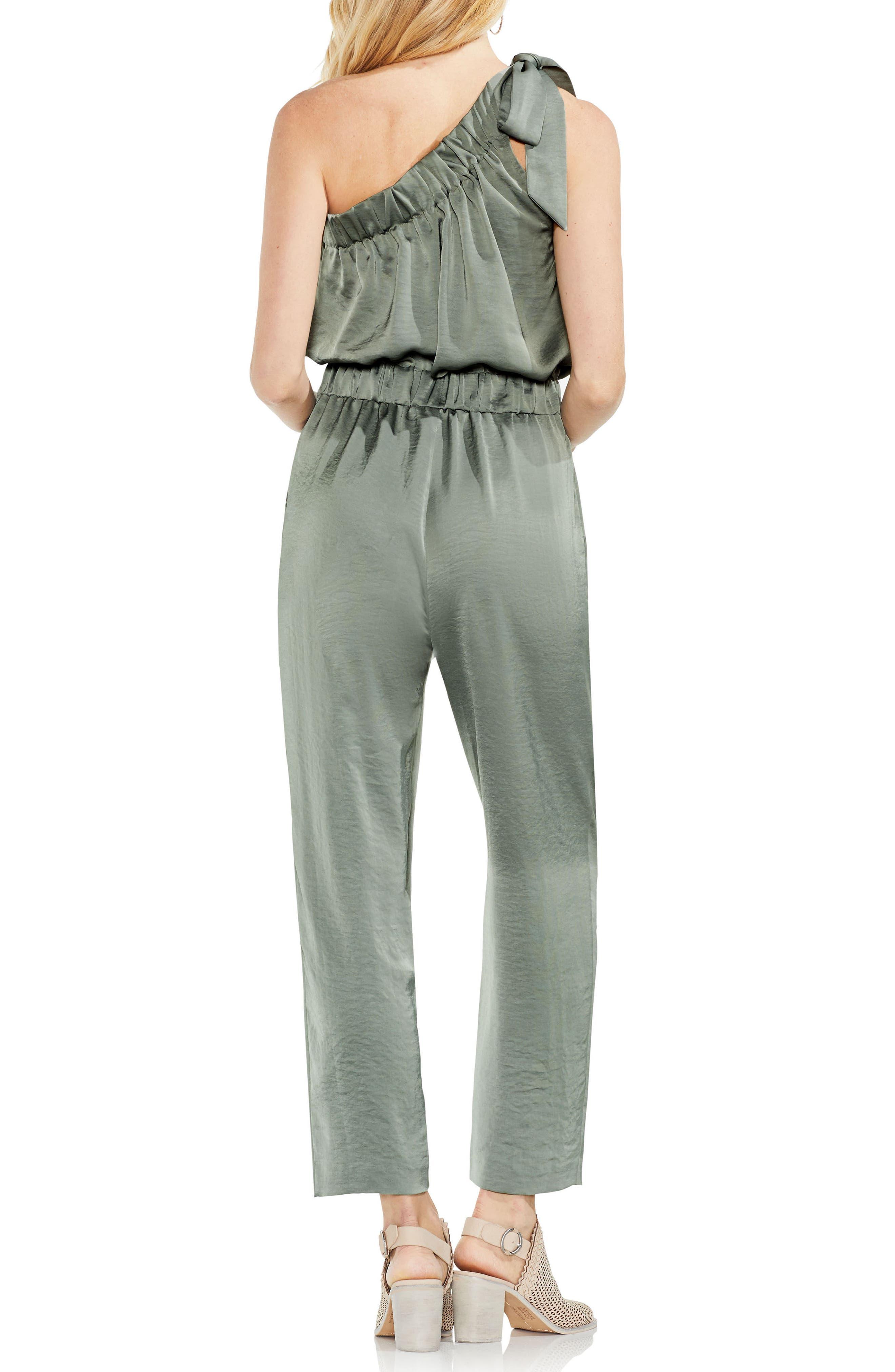 One-Shoulder Crop Jumpsuit,                             Alternate thumbnail 2, color,                             Camo Green